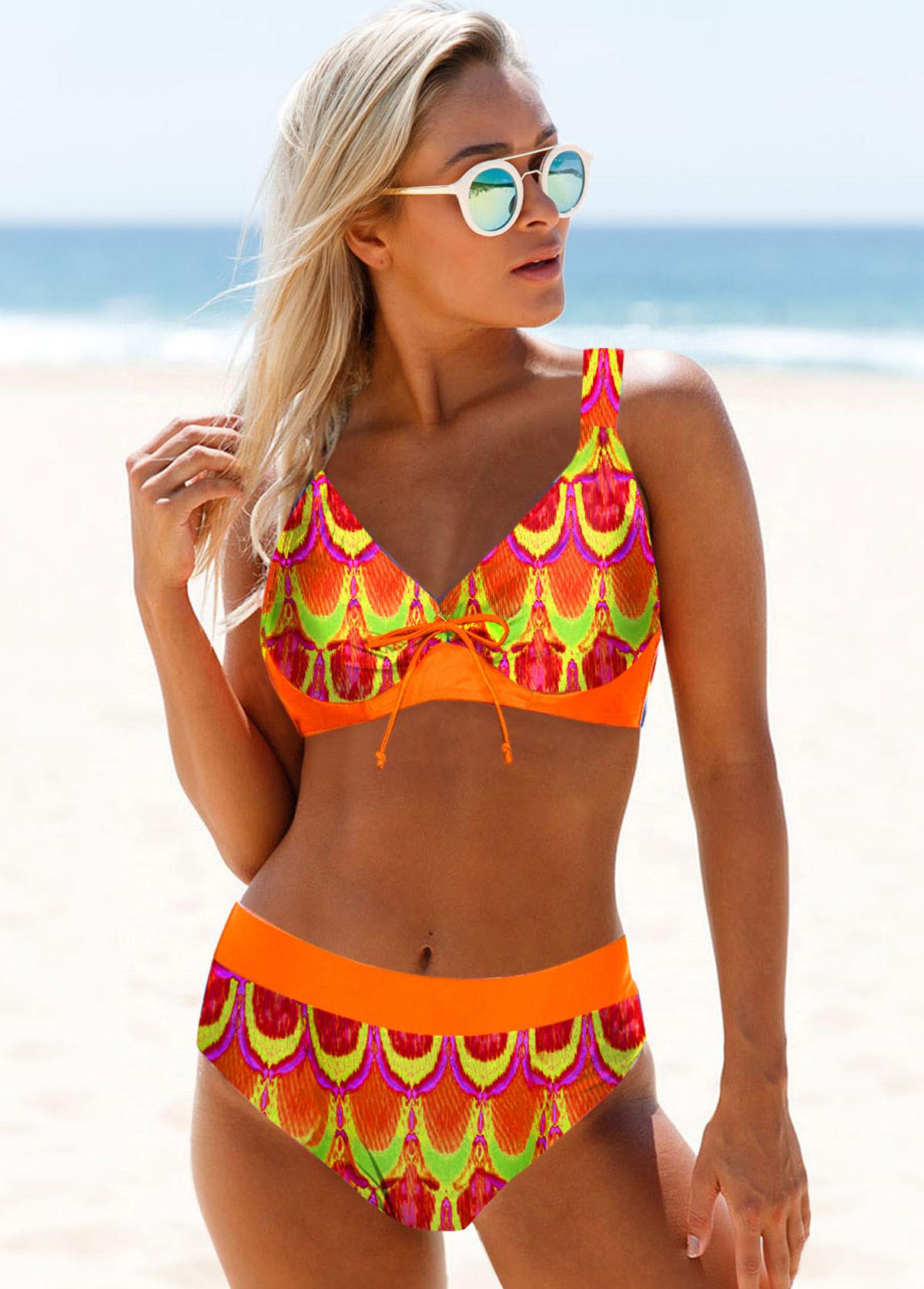 ROTITA Spaghetti Strap Tribal Print Bikini Set