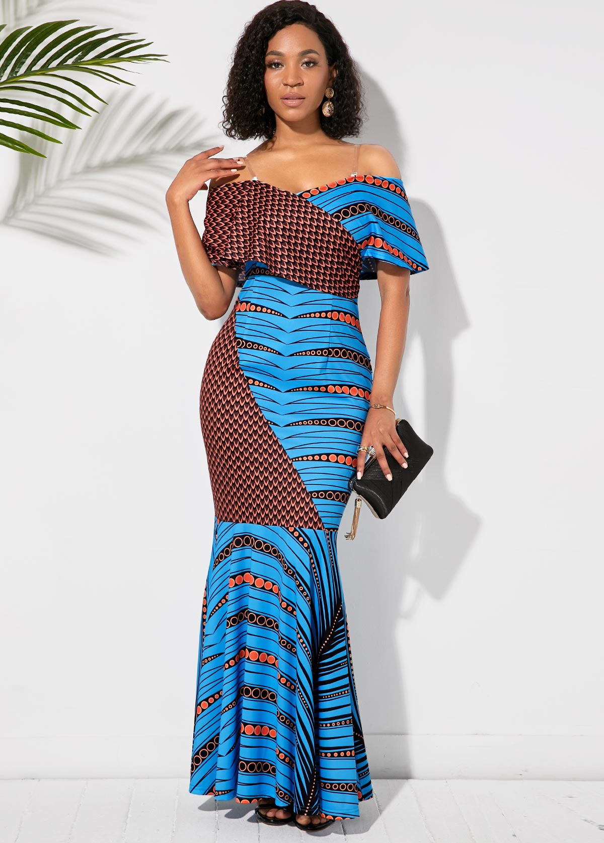 ROTITA Off the Shoulder Half Sleeve Printed Maxi Dress