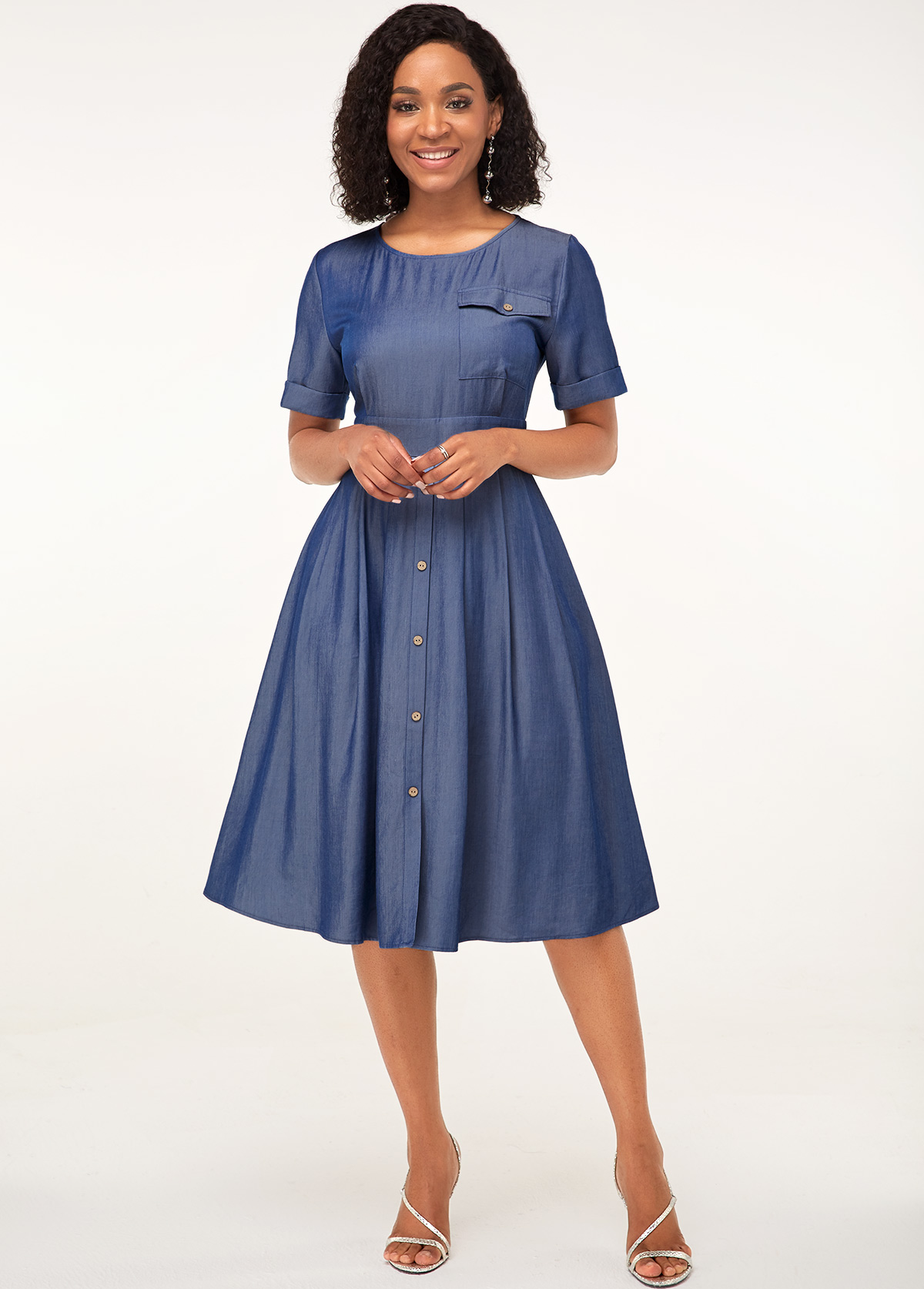 ROTITA Button Detail Faux Denim Short Sleeve Dress
