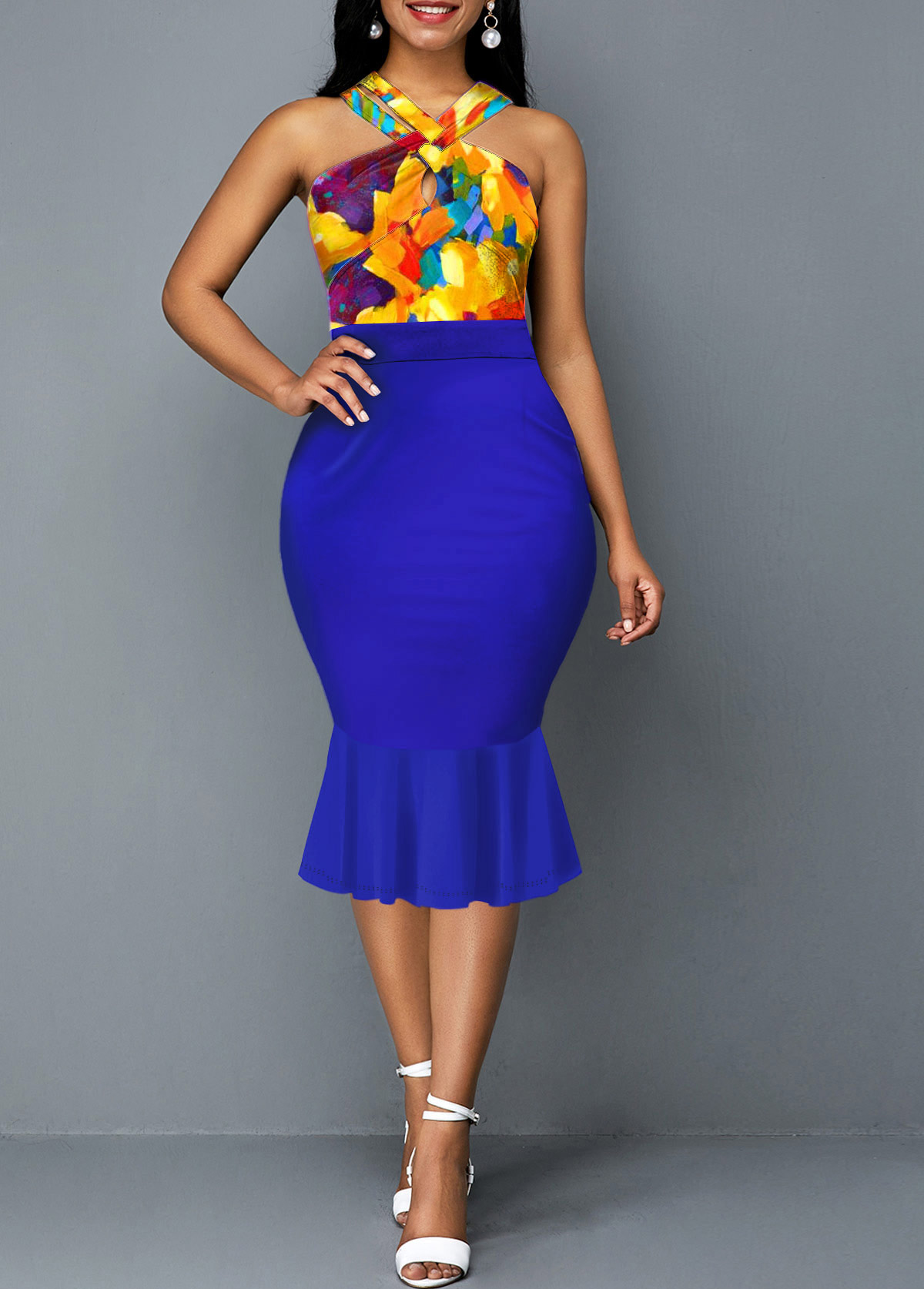 ROTITA Sleeveless Retro Print Royal Blue Mermaid Dress