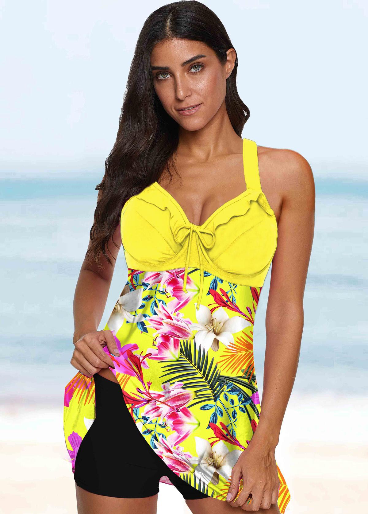 ROTITA Spaghetti Strap Floral Print Tie Front Swimwear Top