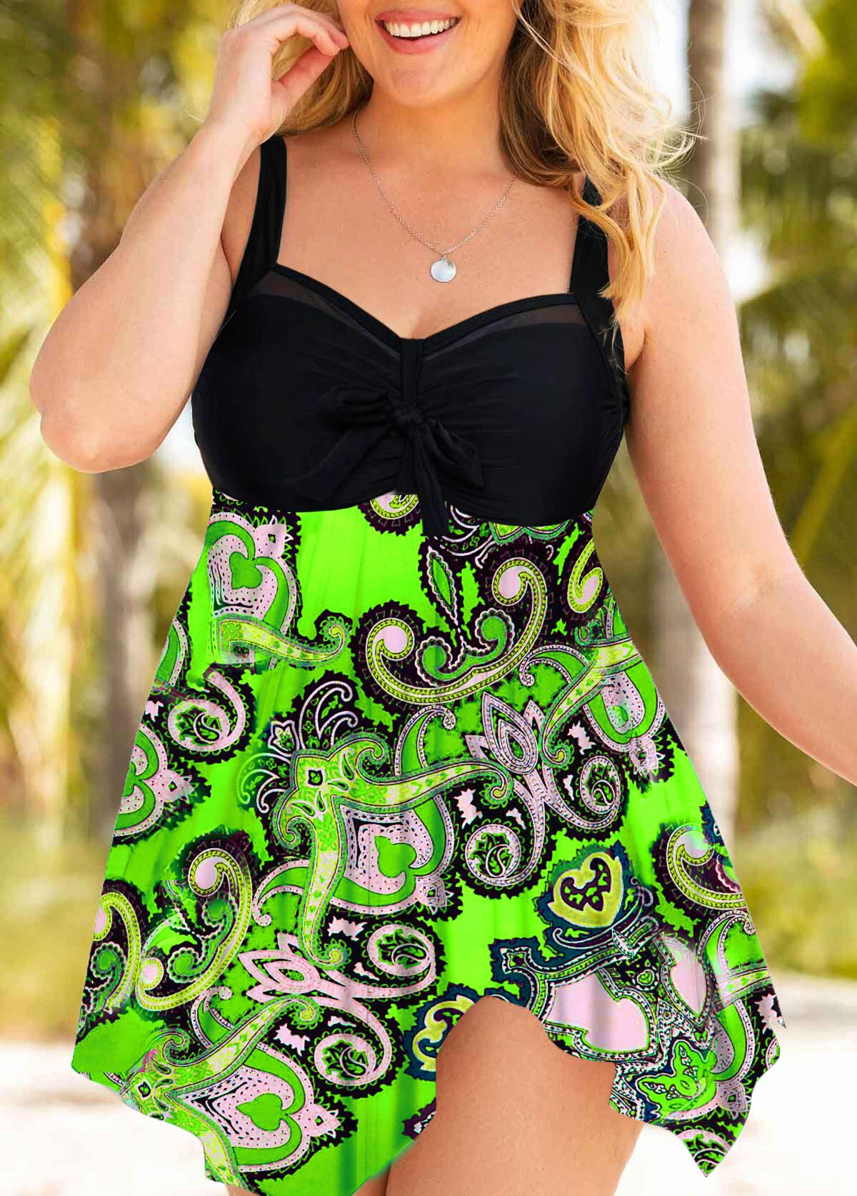 Plus Size Wide Strap Printed Swimdress and Panty