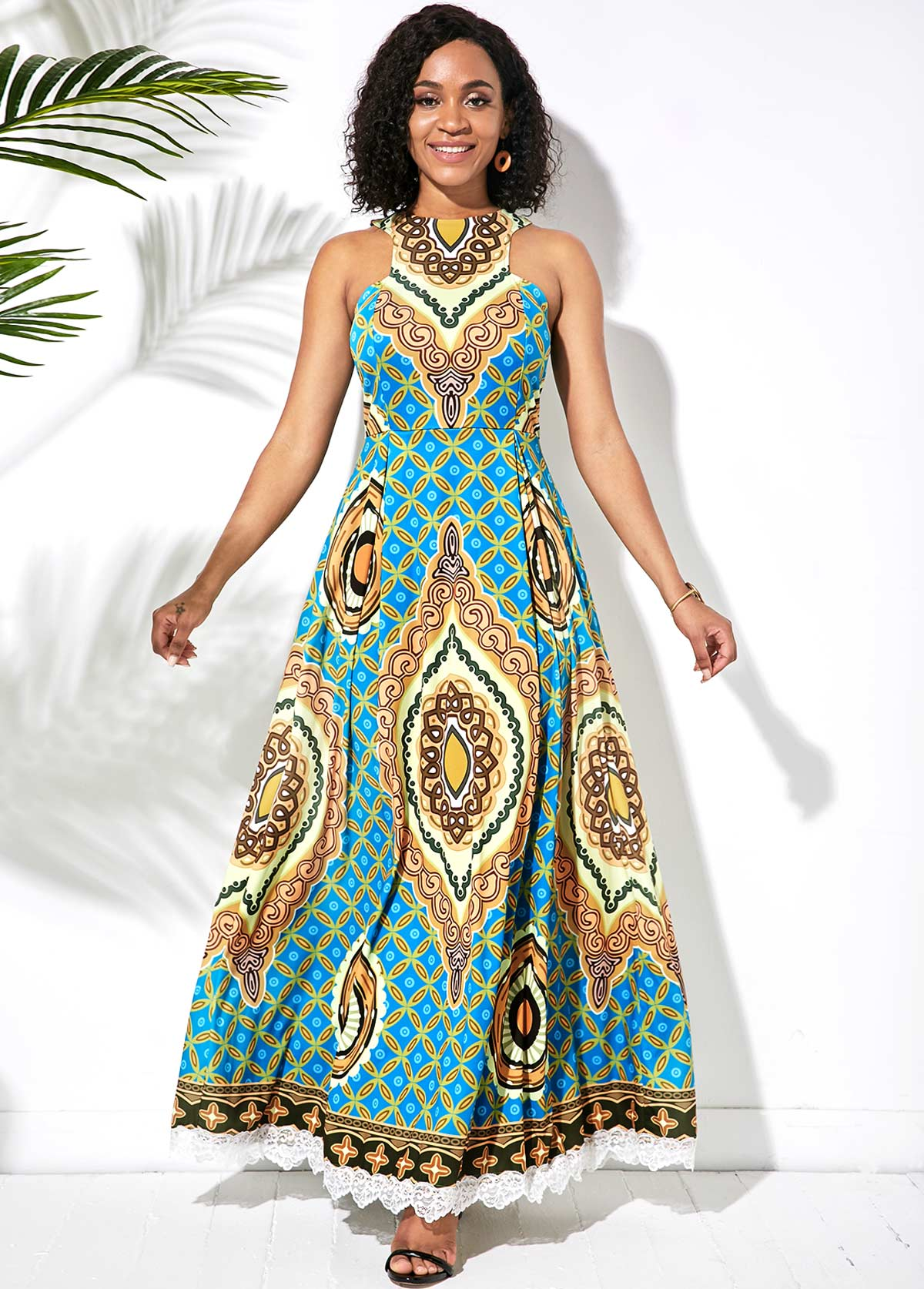 Sleeveless Tribal Print Lace Patchwork Dress