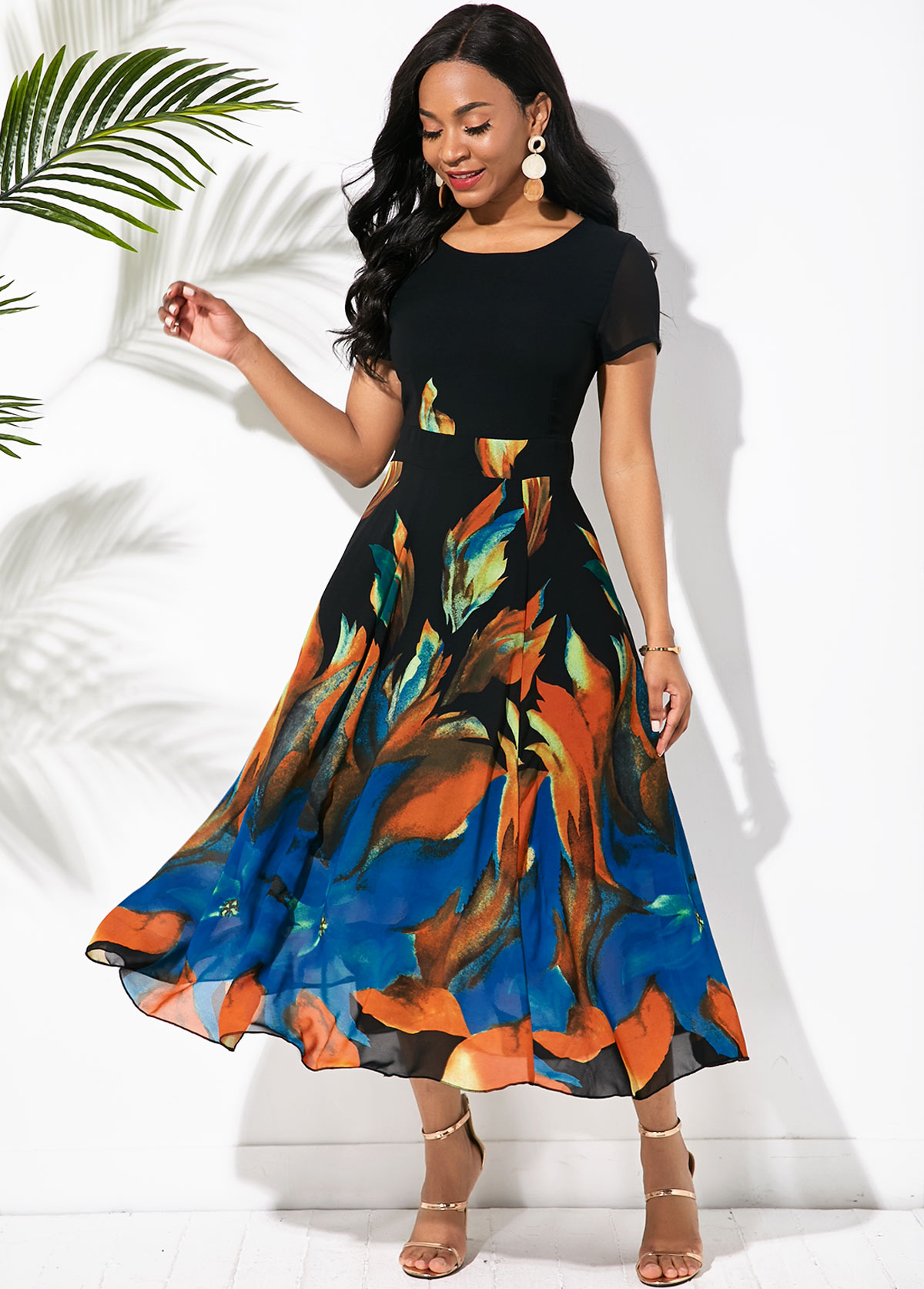 ROTITA Printed Short Sleeve Round Neck Swing Dress