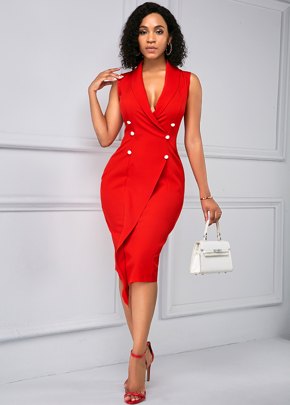 ROTITA Button Detail V Neck Sleeveless Red Dress
