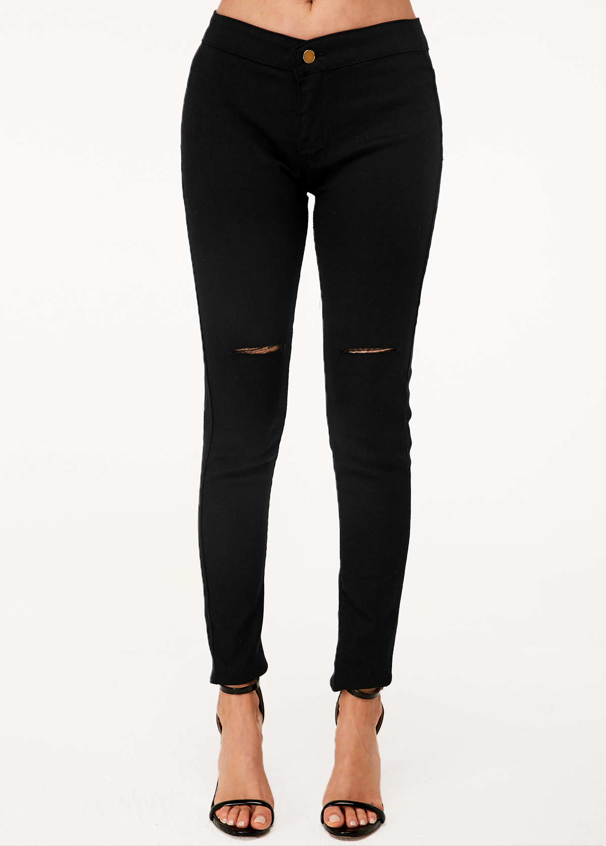ROTITA Black Shredded High Waist Skinny Jeans