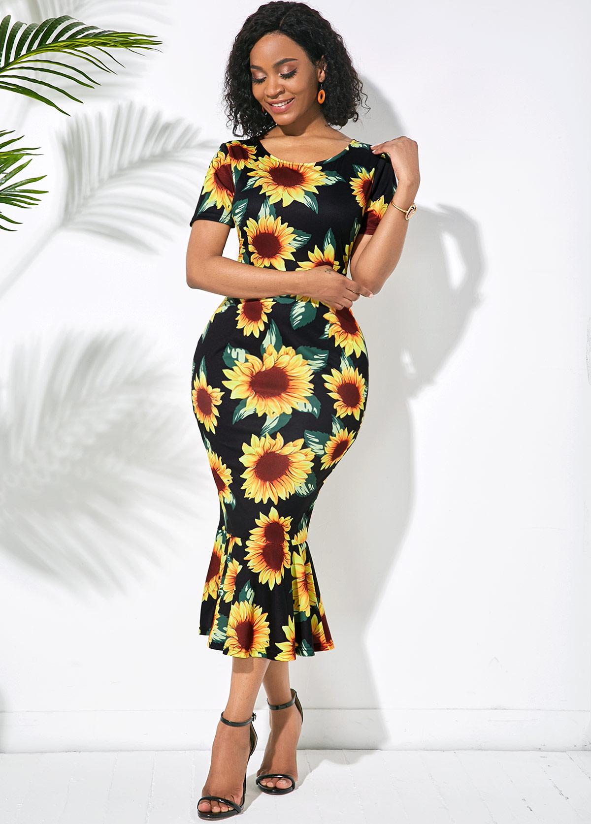ROTITA Round Neck Skinny Sunflower Print Mermaid Dress