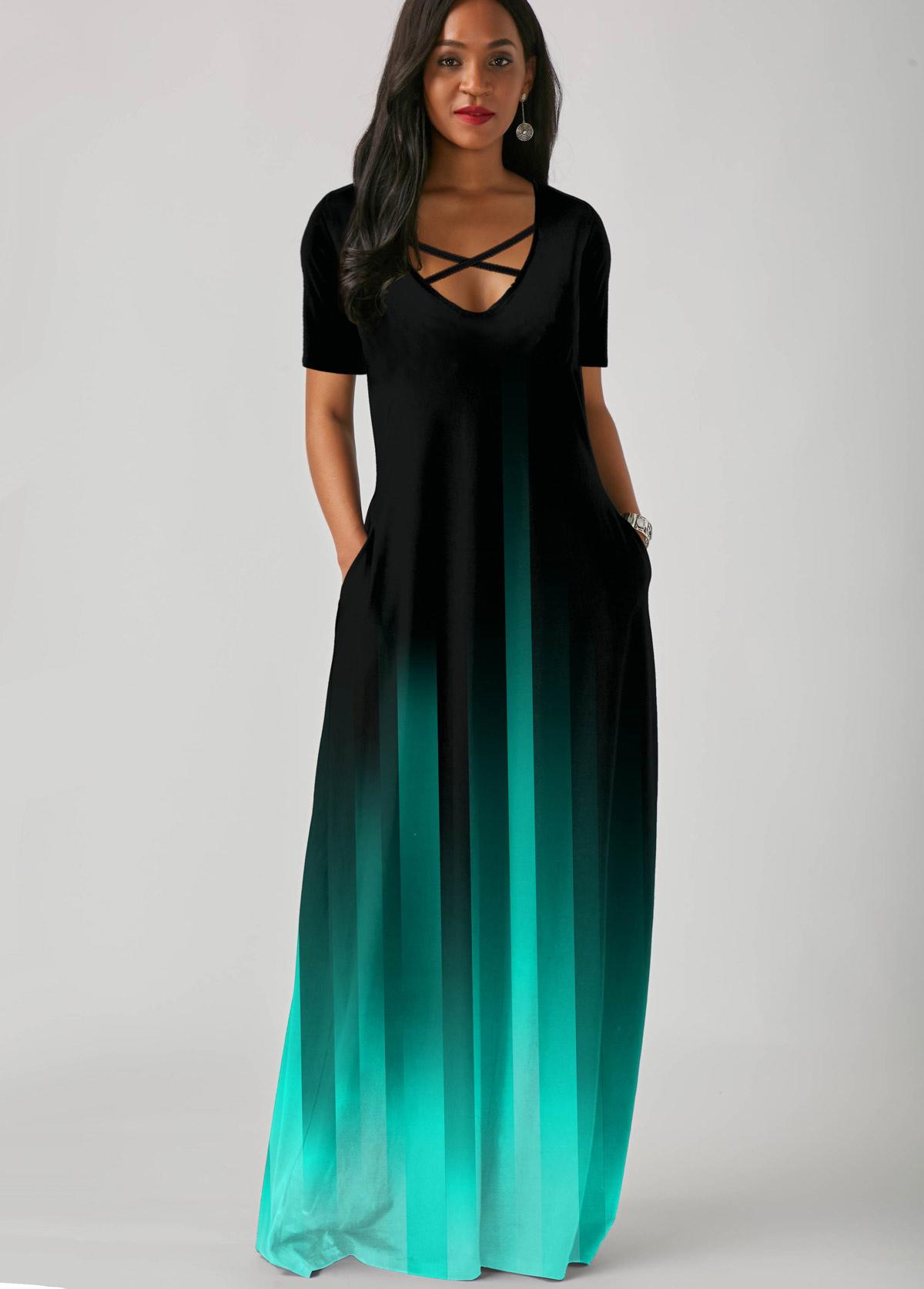 ROTITA Side Pocket Mint Green Gradient Short Sleeve Maxi Dress
