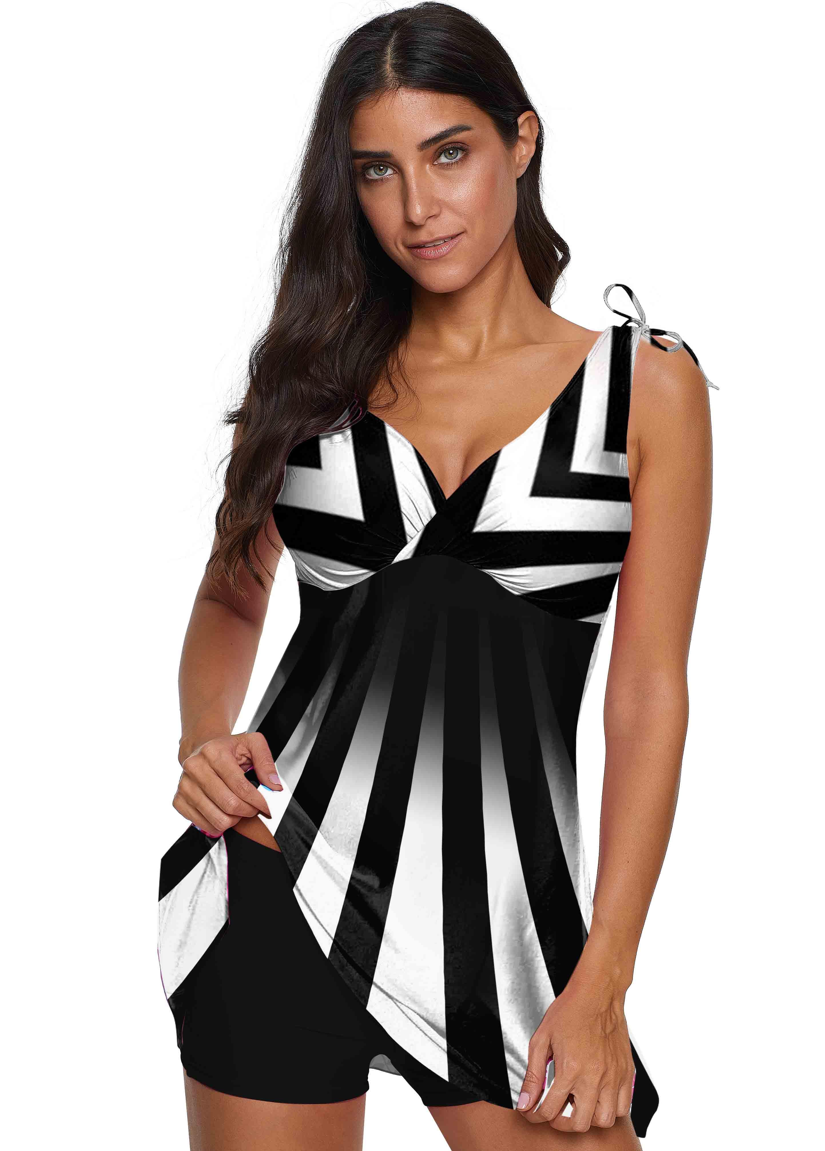 ROTITA Wide Strap V Neck Striped Swimdress and Shorts