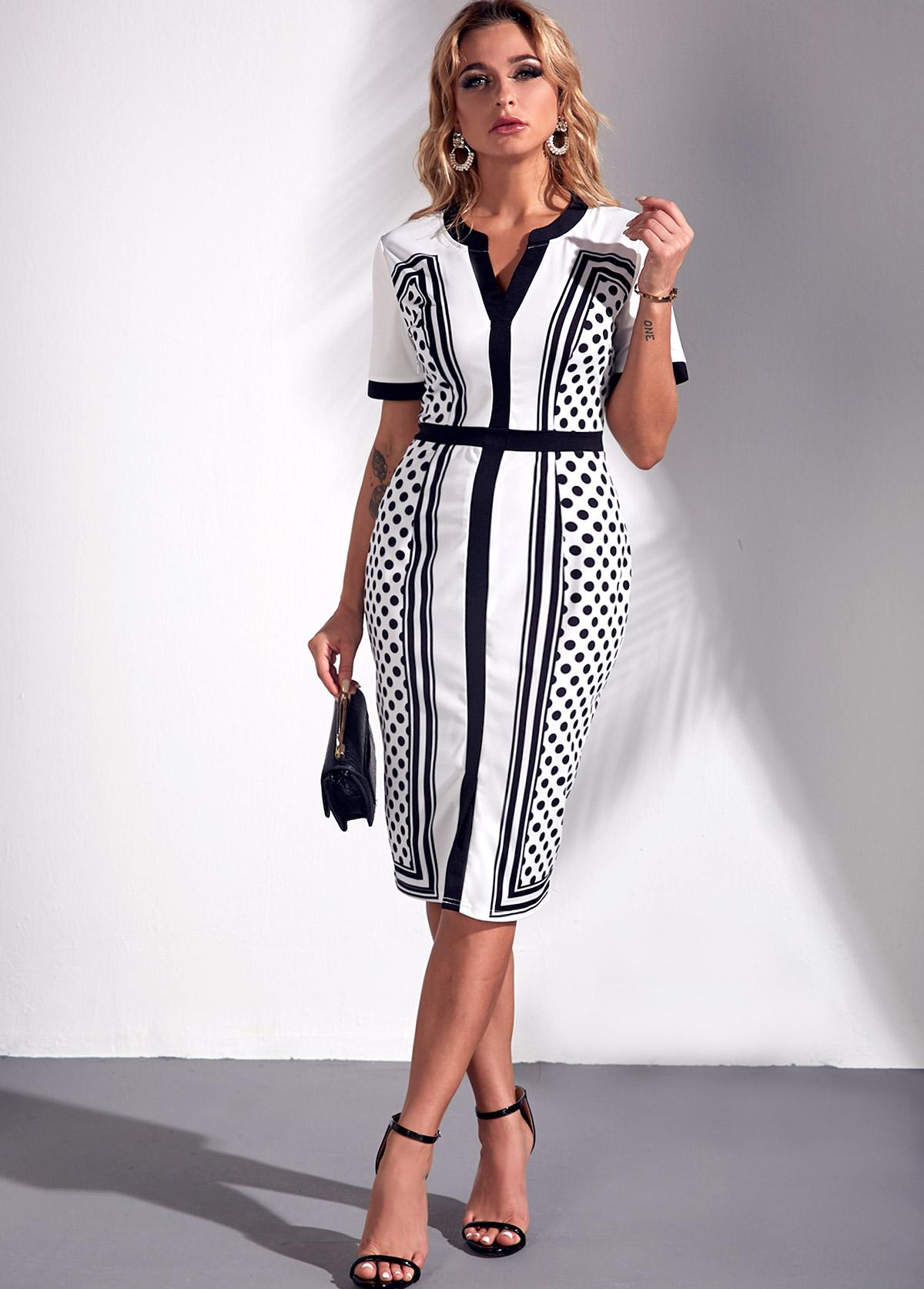 ROTITA Square Dot Print Color Block Split Neck Dress