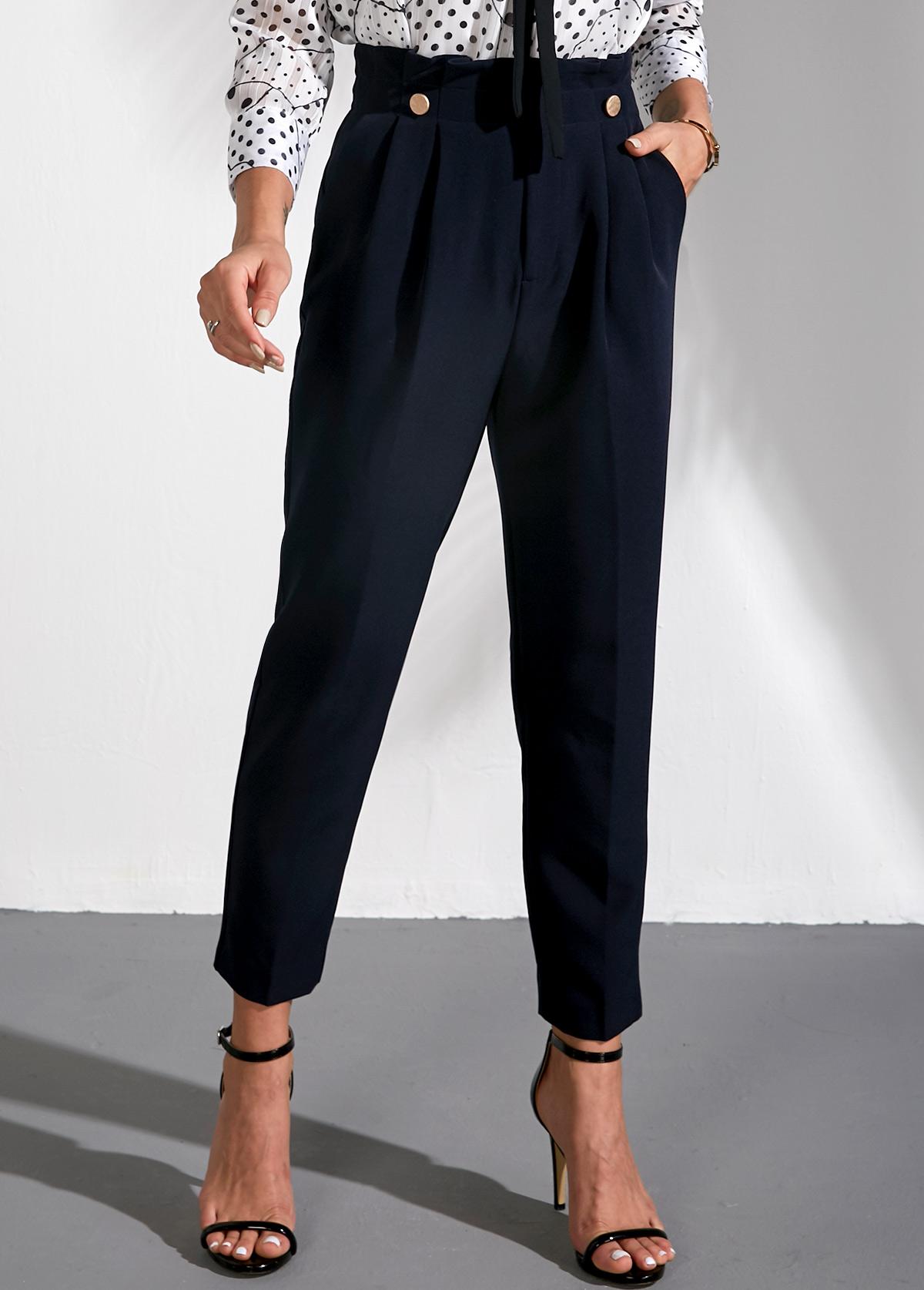 ROTITA Paperbag Waist Straight Navy Blue Pants