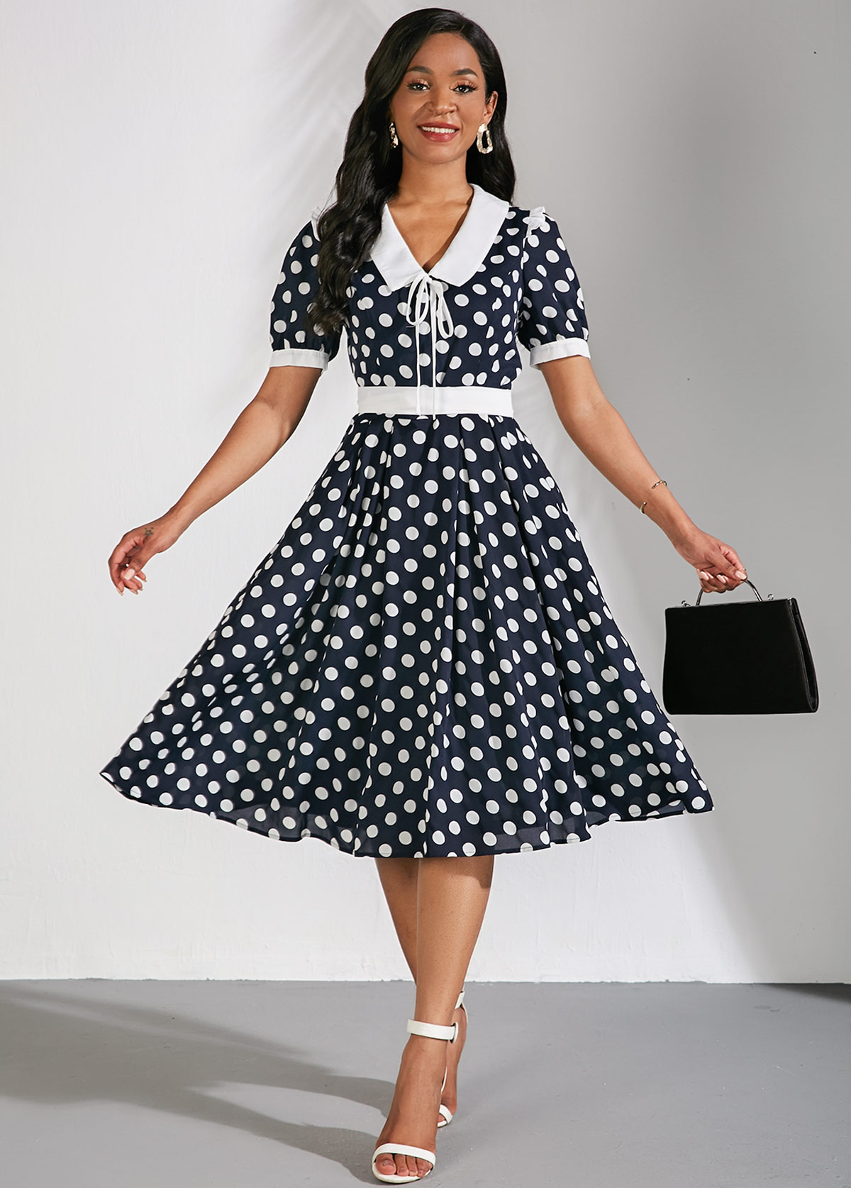 ROTITA Flat Collar Polka Dots Short Sleeve Dress