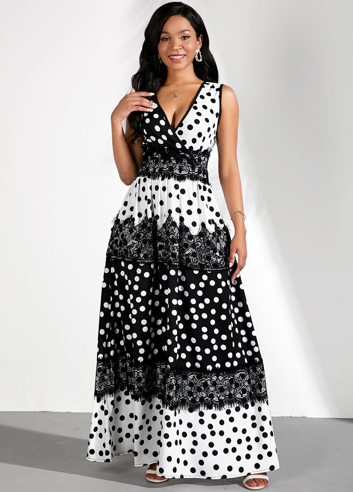 ROTITA Color Block Polka Dots Lace Panel Dress