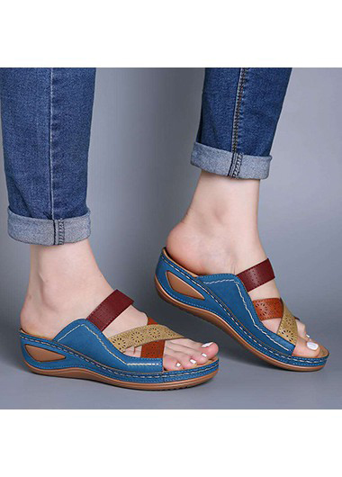 Casual Pierced Wedge Heel Flip Flops