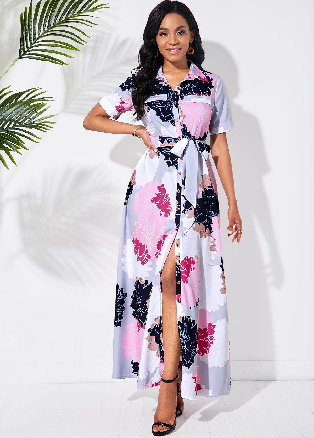 ROTITA Bowknot Sash Multi Color Blossom Print Dress