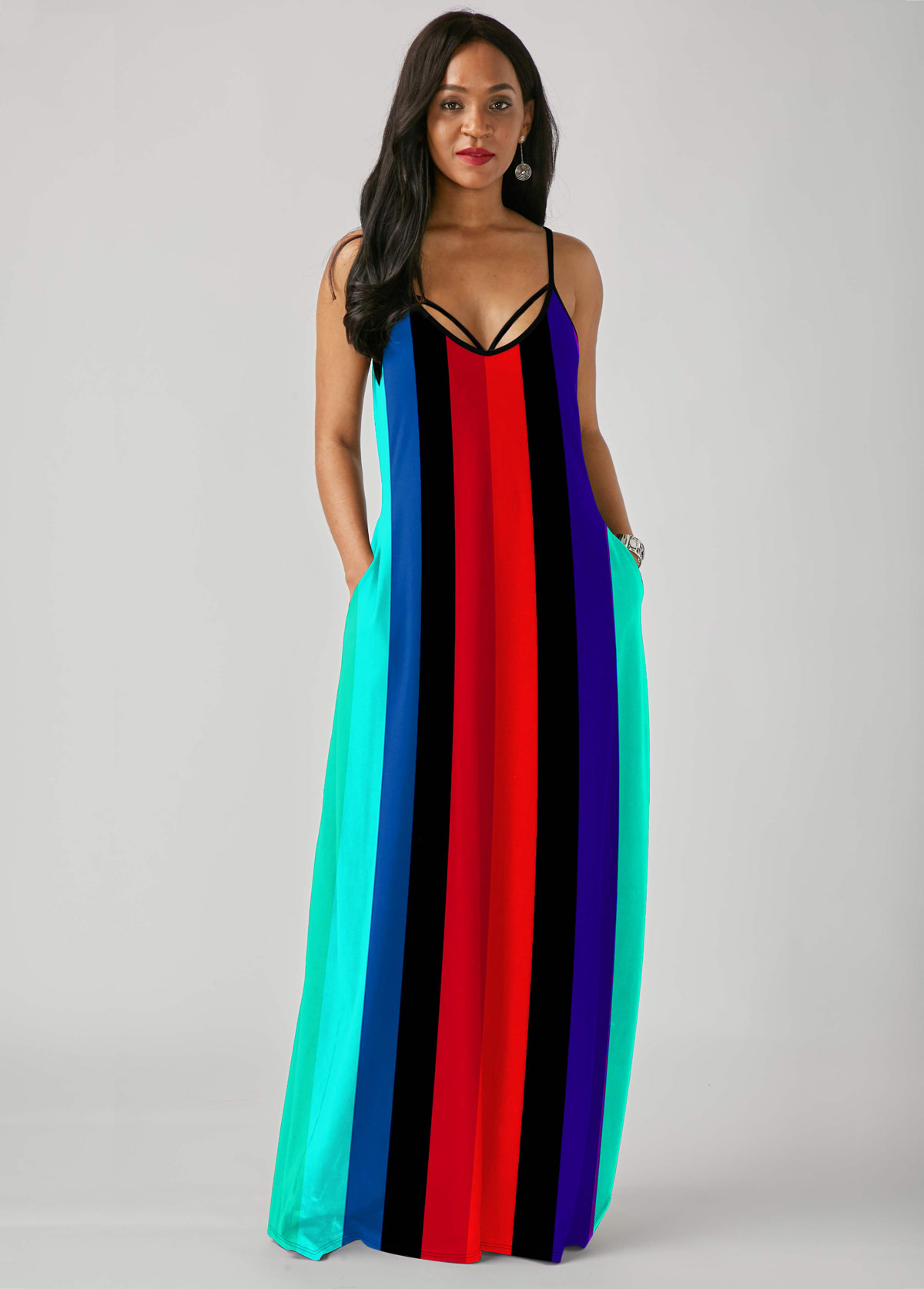 Spaghetti Strap Rainbow Stripe Print Multi Color Dress