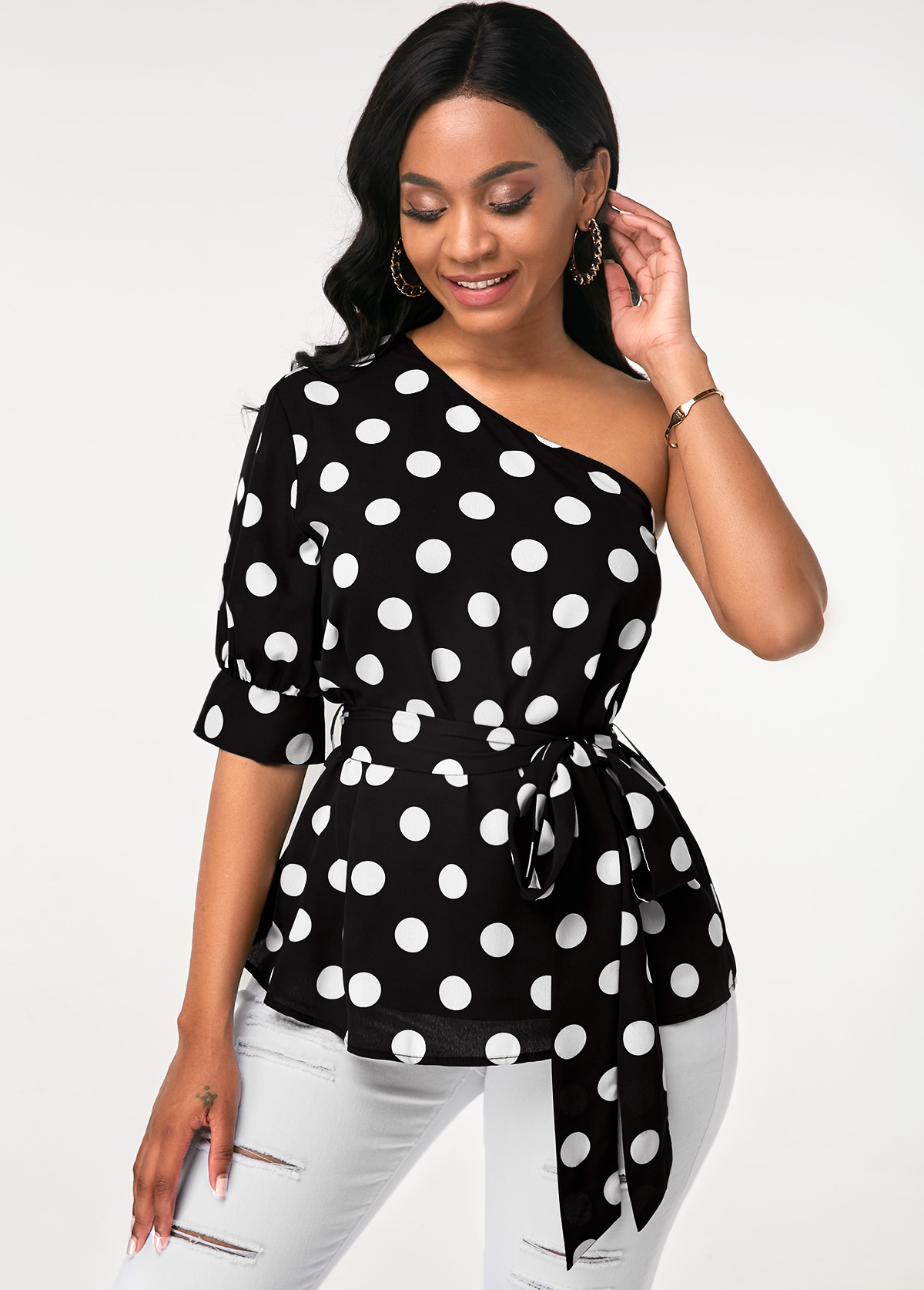 Polka Dot Print Black Skew Neck Blouse