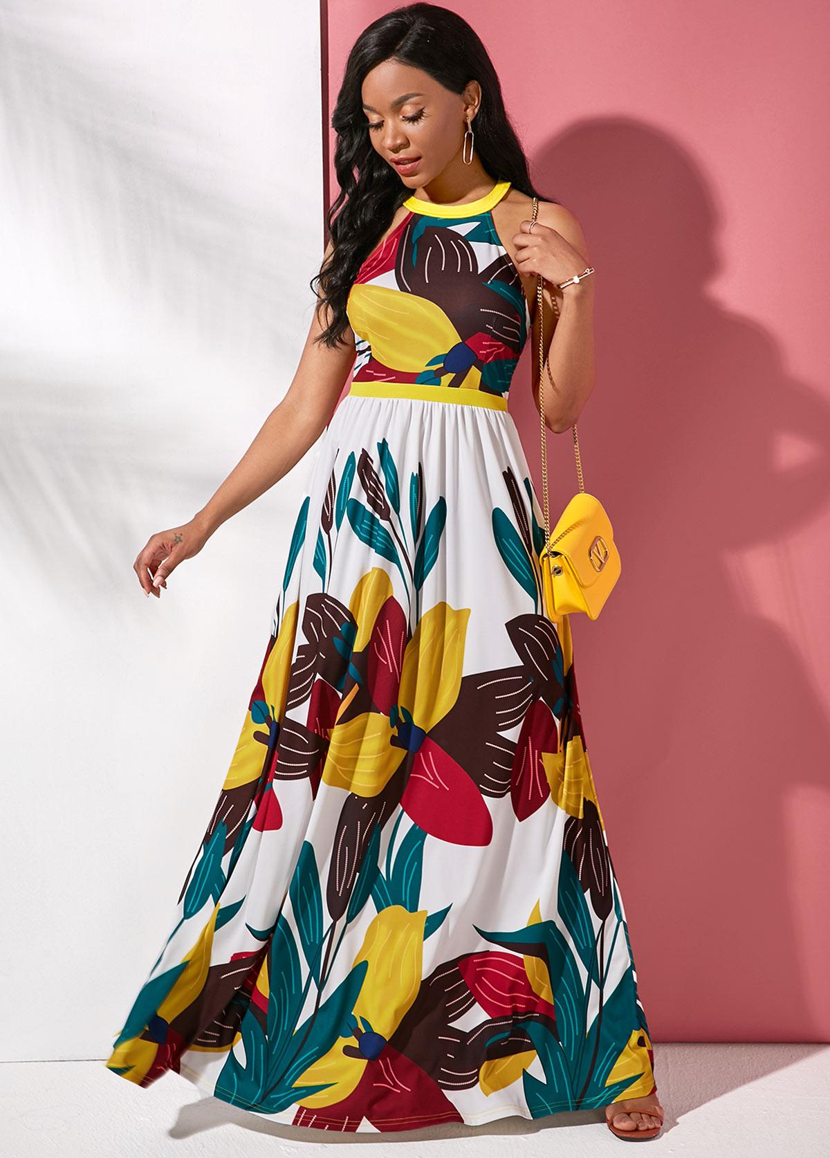 ROTITA Large Floral Print Sleeveless Maxi Dress