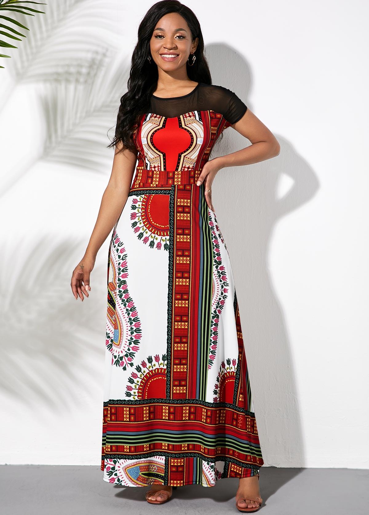 ROTITA Short Sleeve Tribal Print Maxi Dress