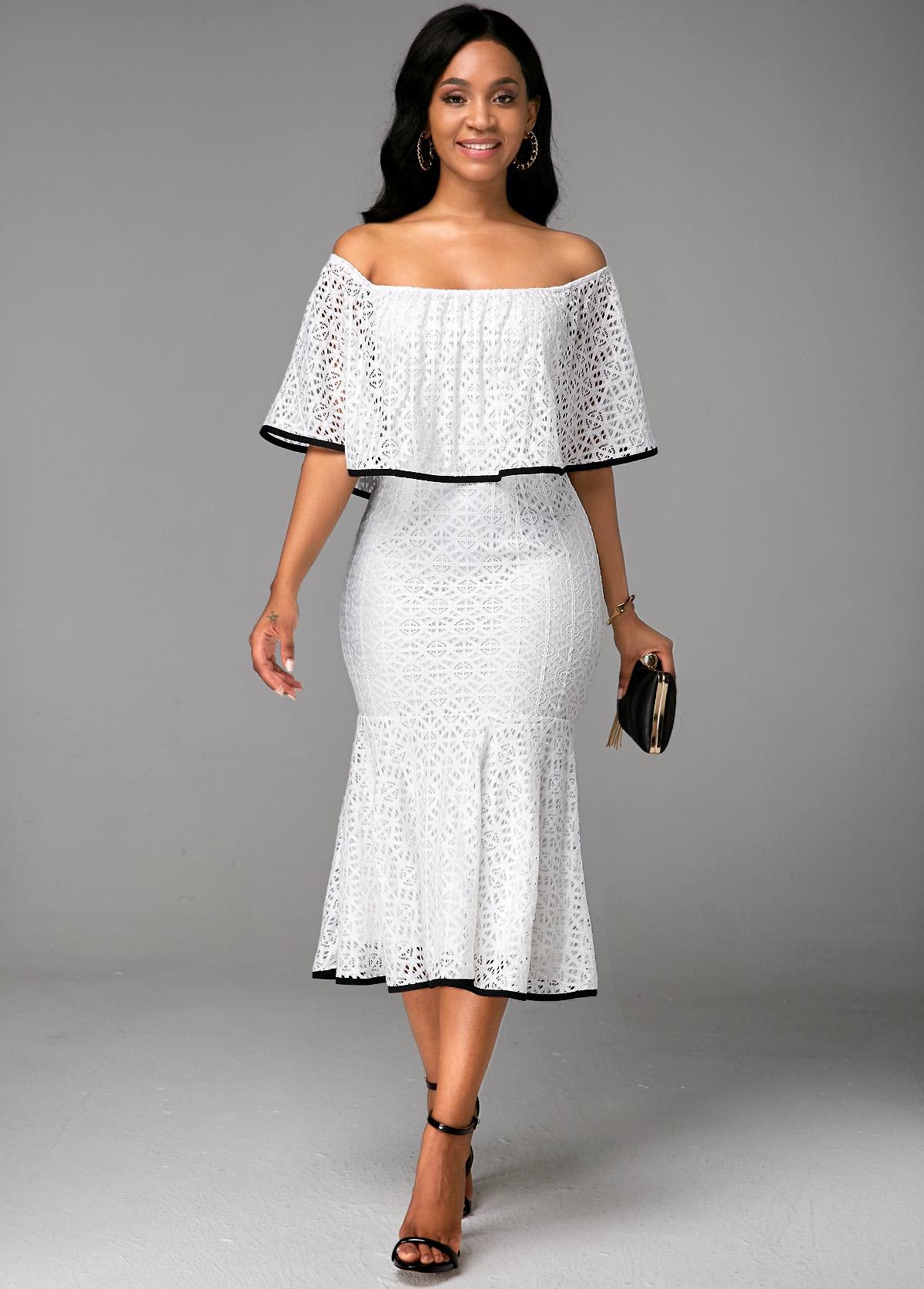 ROTITA White Boat Neck Ruffle Overlay Lace Dress