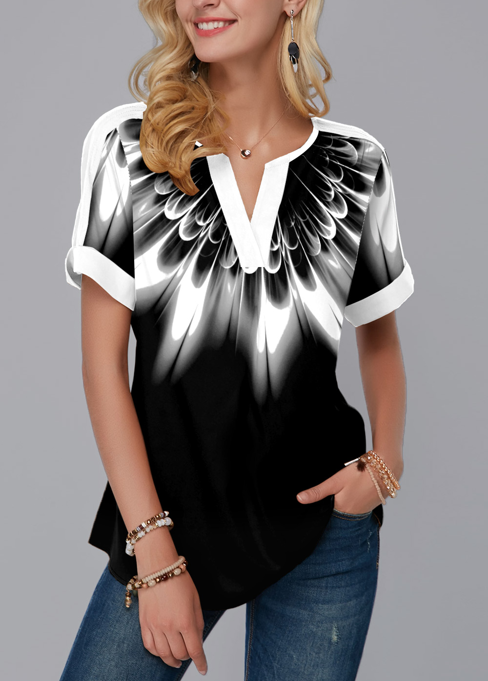 ROTITA Printed Color Block V Neck Blouse