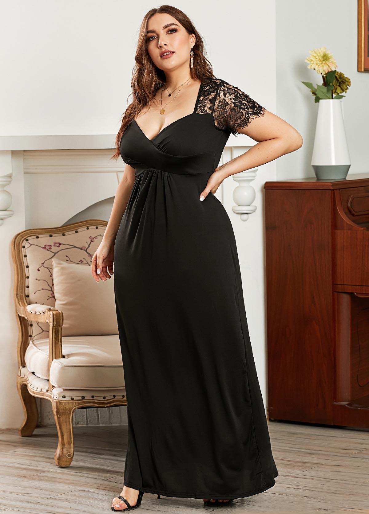 ROTITA Plus Size Short Sleeve Lace Panel Maxi Dress