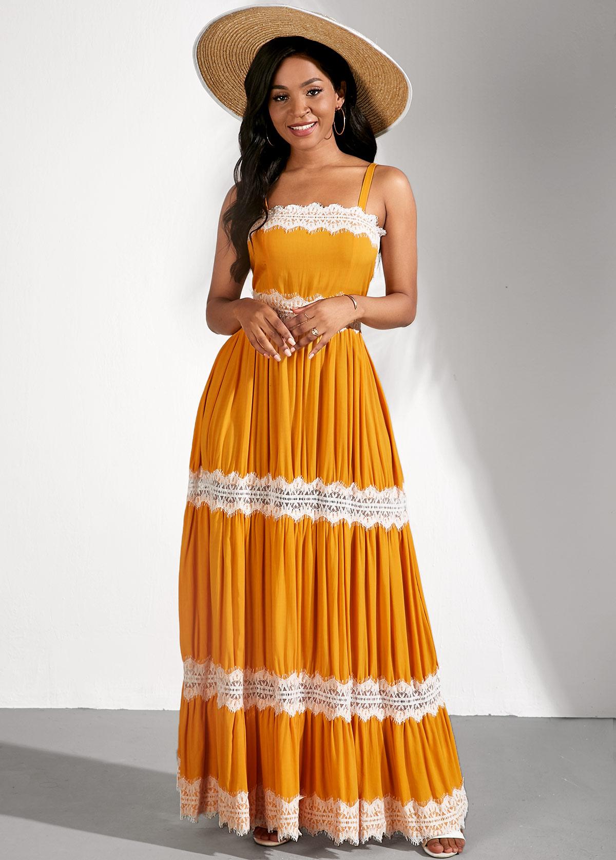ROTITA Yellow Sleeveless Lace Stitching Spaghetti Strap Dress