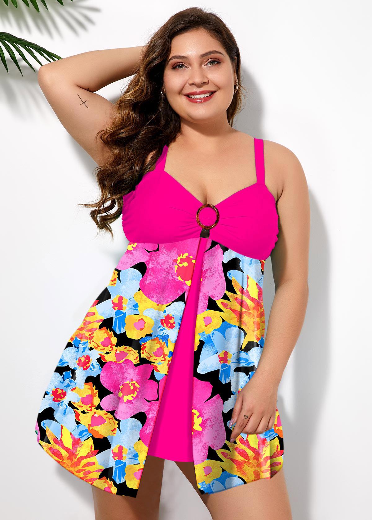 Plus Size Front Slit Floral Print Swimwear Top