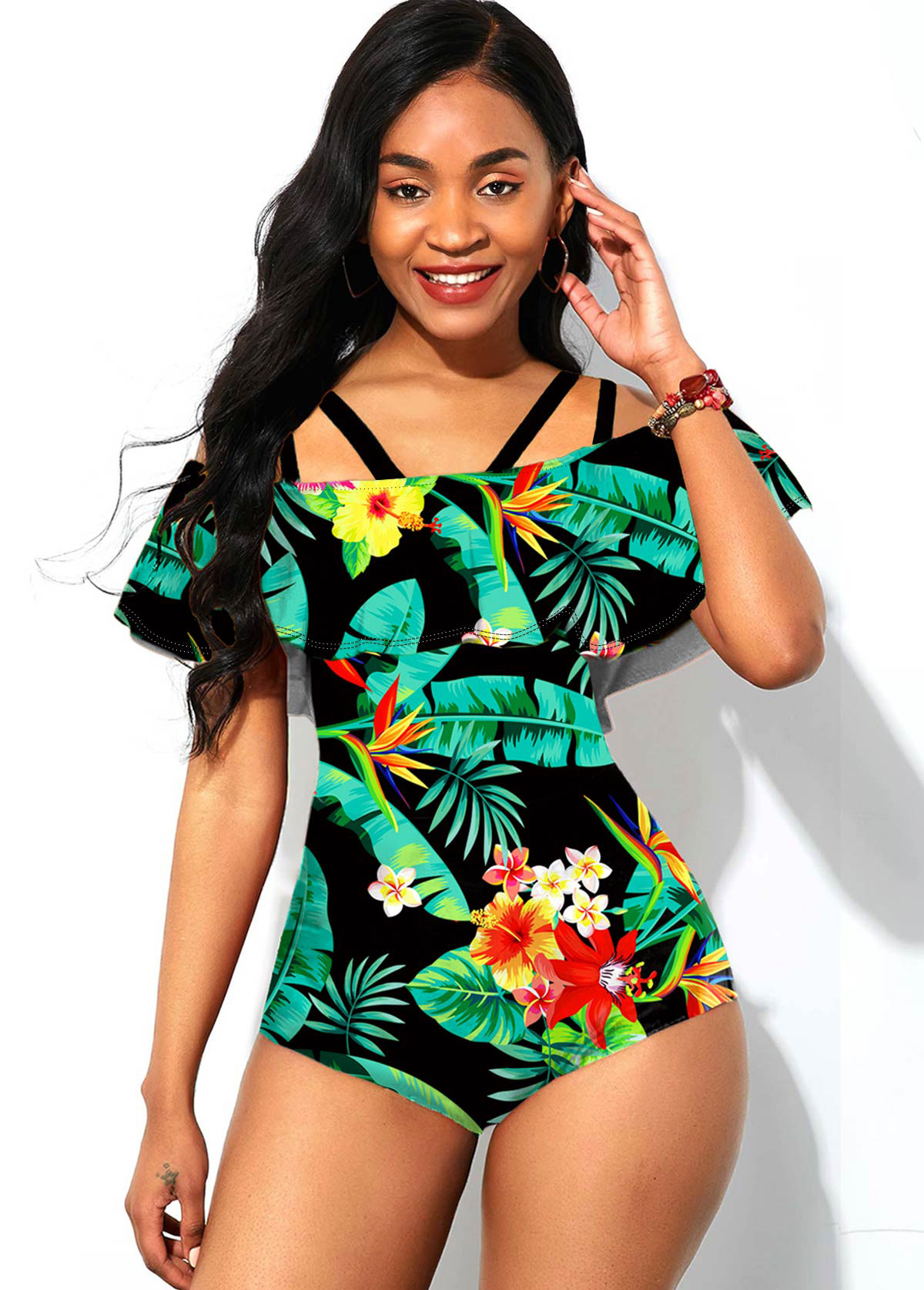 ROTITA Printed Foldover Double Strap One Piece Swimwear