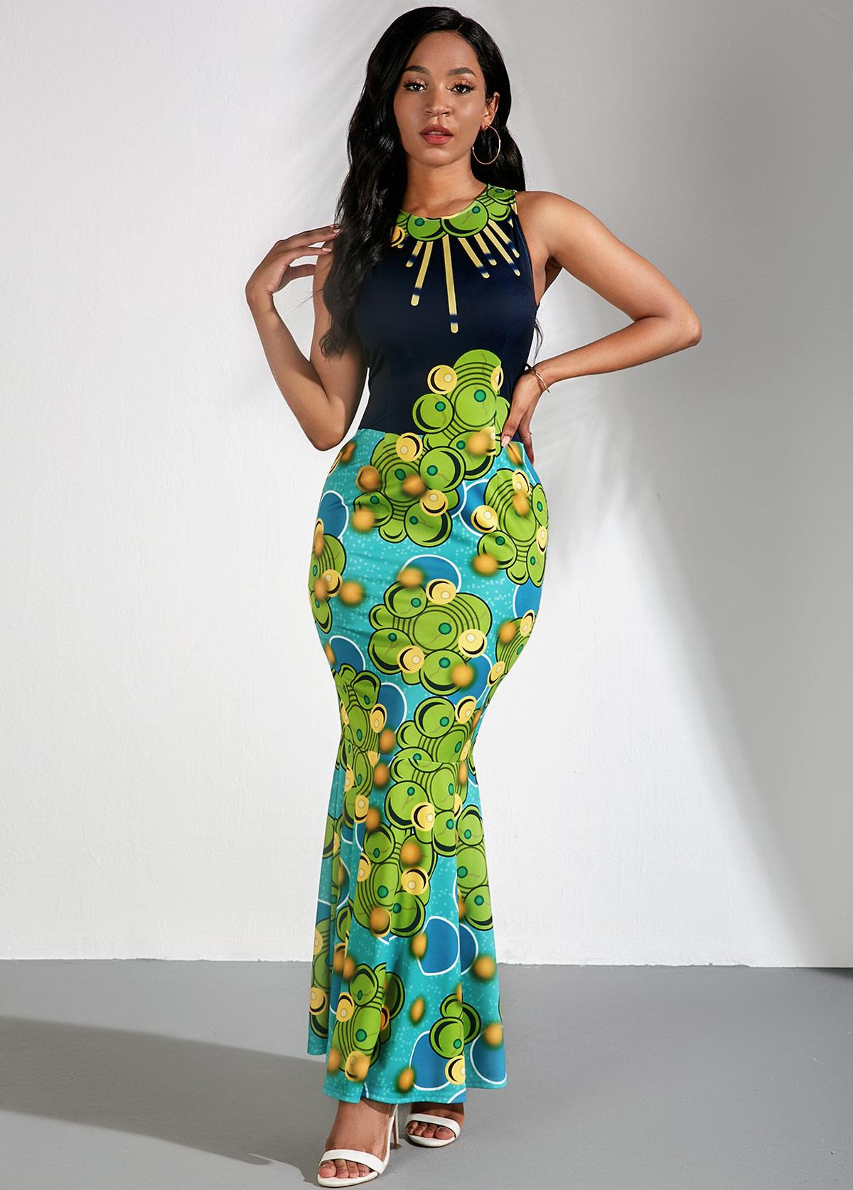 ROTITA Sleeveless Tribal Print Maxi Mermaid Dress