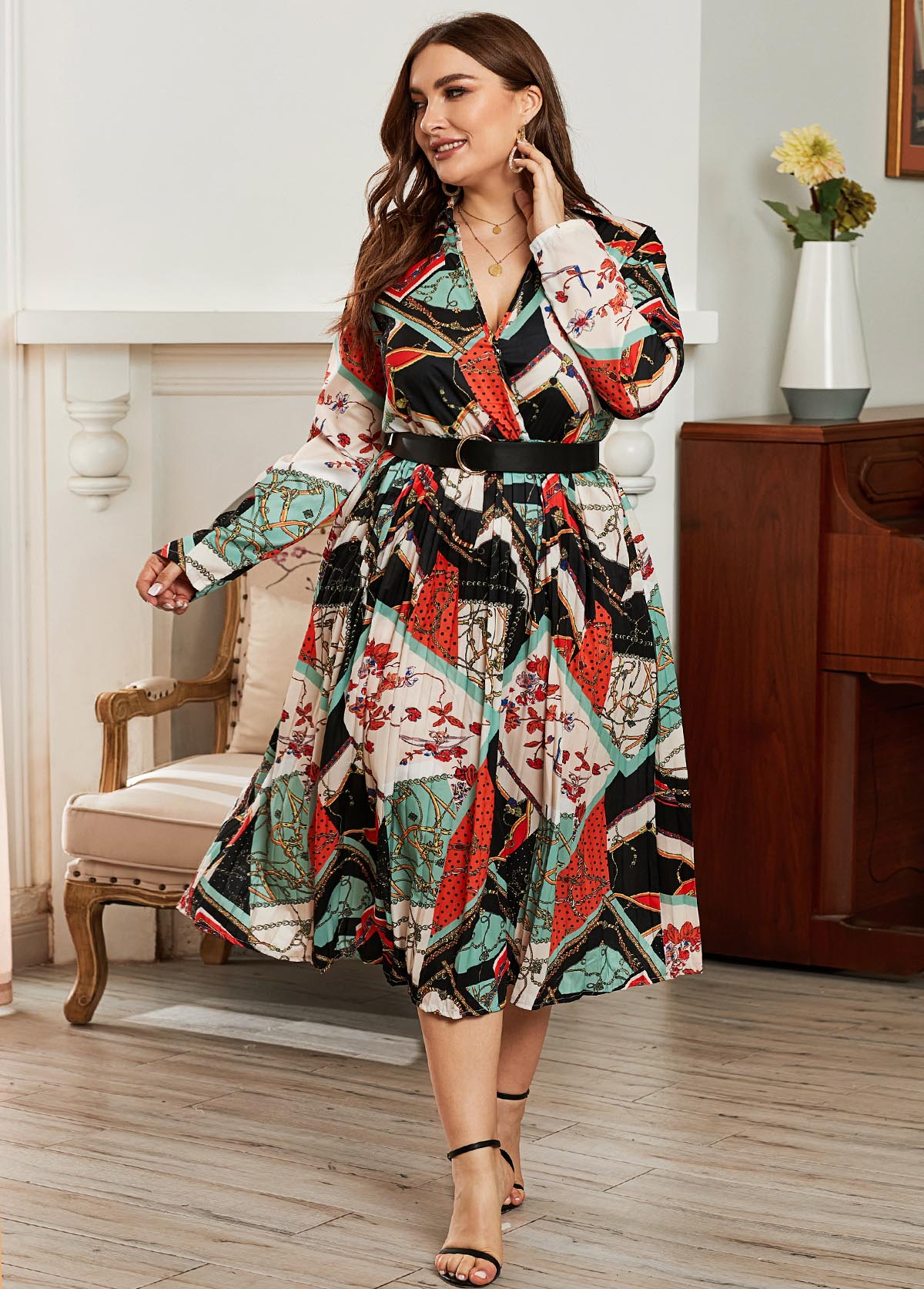 Plus Size Belted Tribal Print Dress