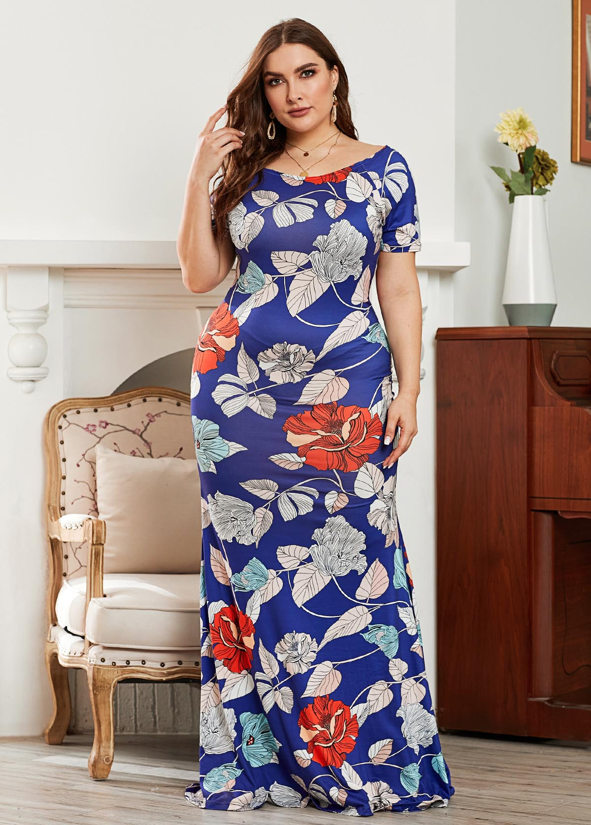Plus Size Short Sleeve Flower Print Maxi Dress
