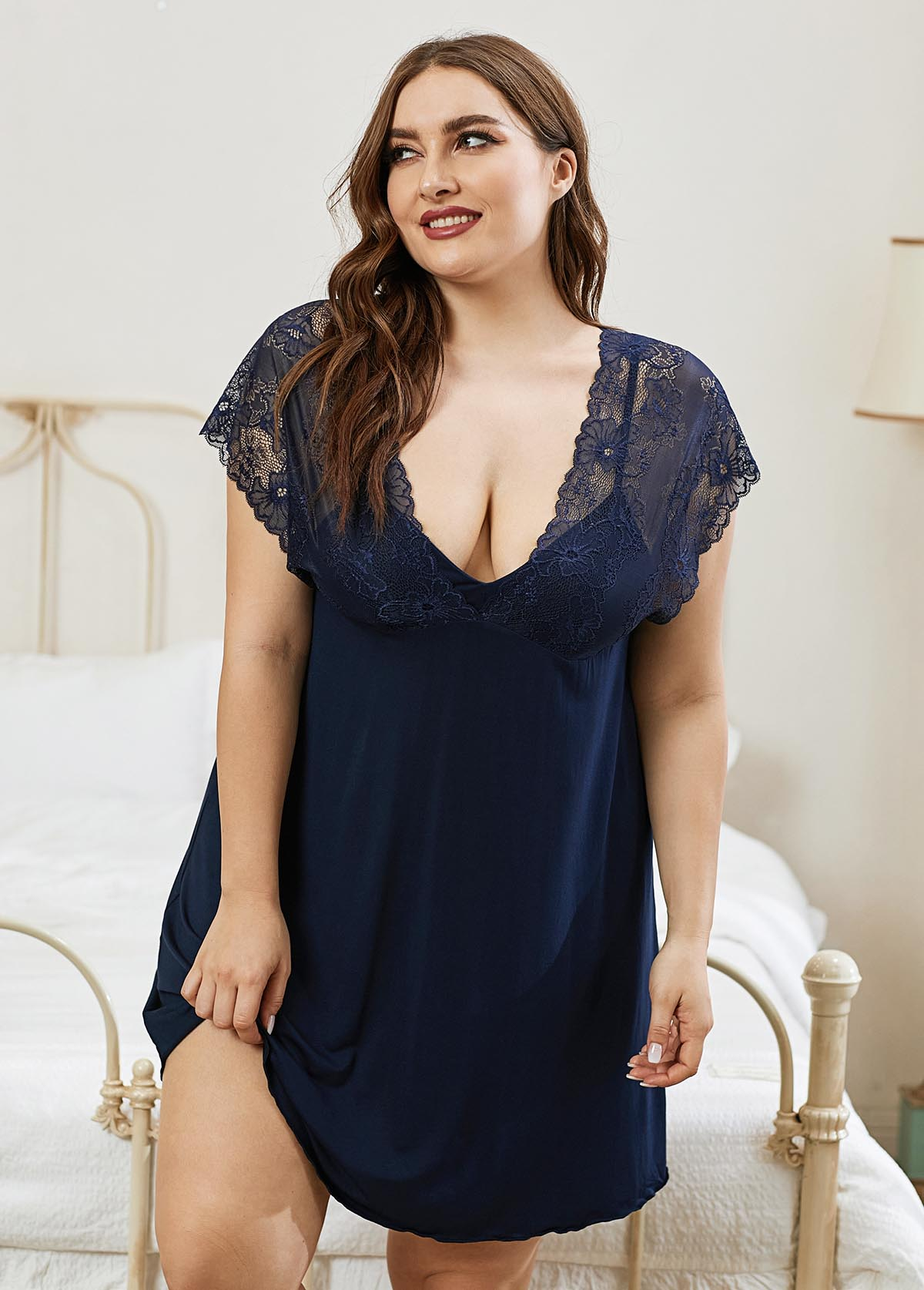 ROTITA Plus Size Navy Blue Lace Panel Nightdress