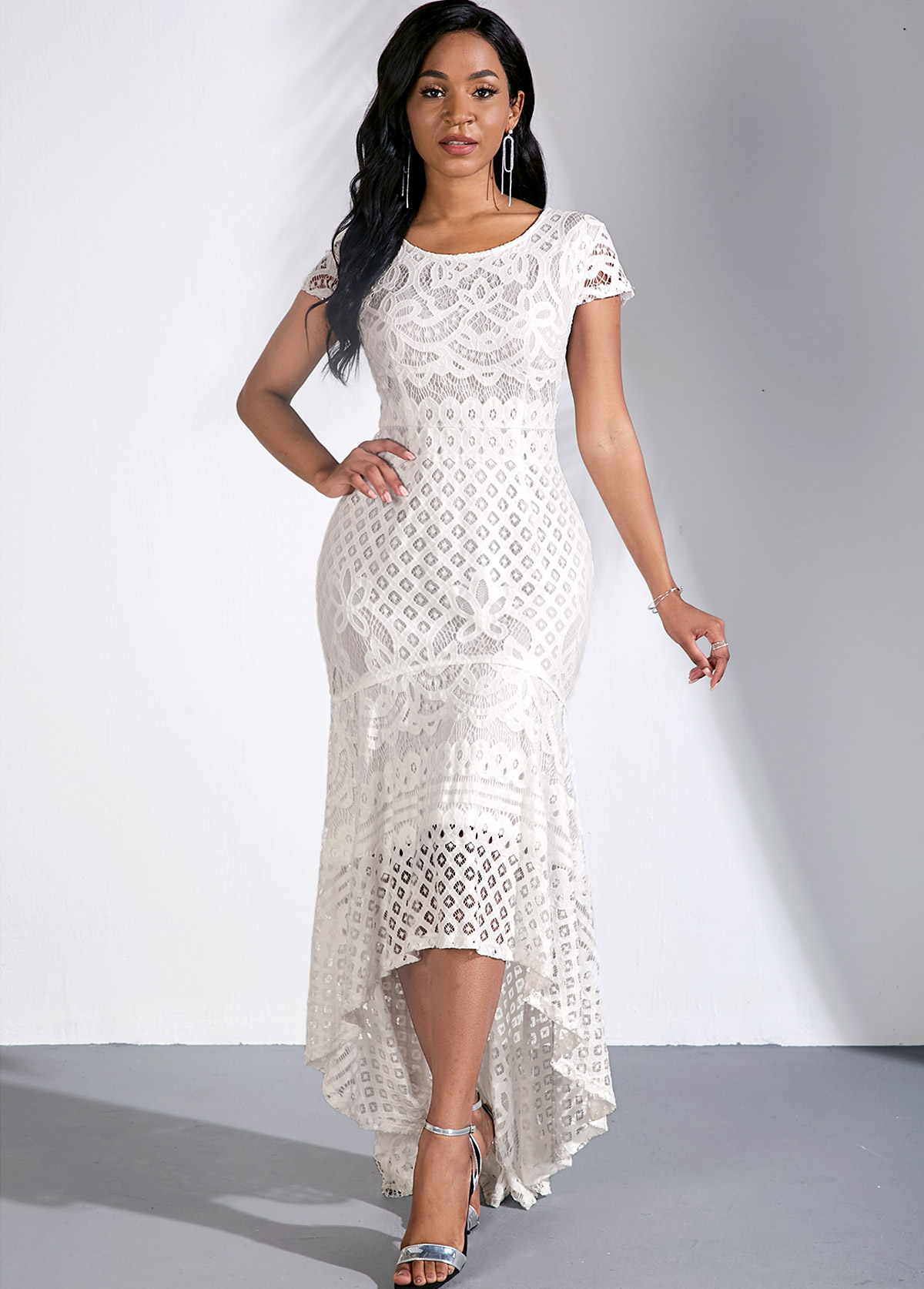ROTITA Lace Round Neck Cap Sleeve Mermaid Dress