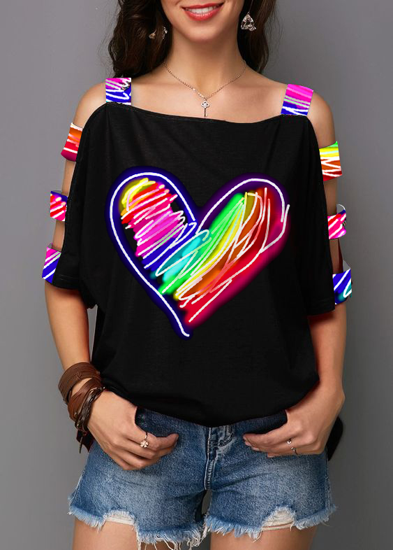 ROTITA Ladder Cutout Sleeve Heart Print Rainbow T Shirt