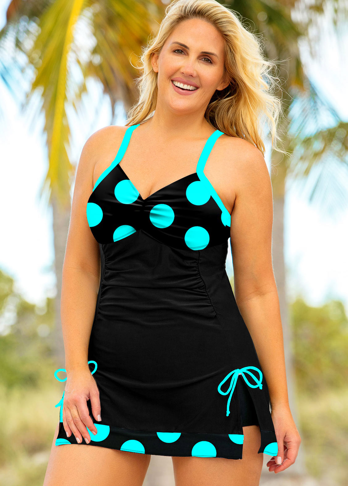 ROTITA Plus Size Polka Dot Spaghetti Strap Swimwear Top