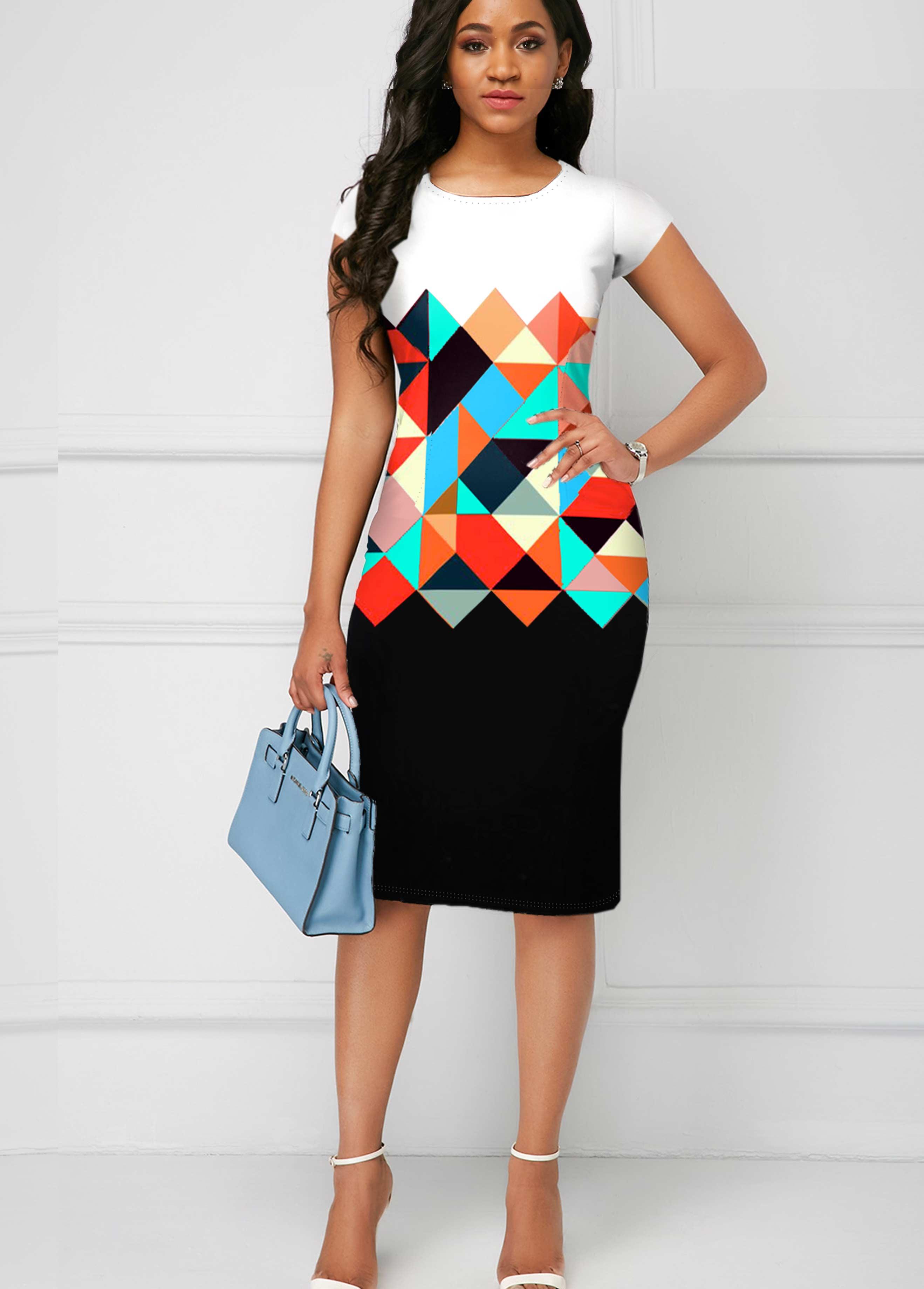 ROTITA Geometric Print Round Neck Short Sleeve Dress