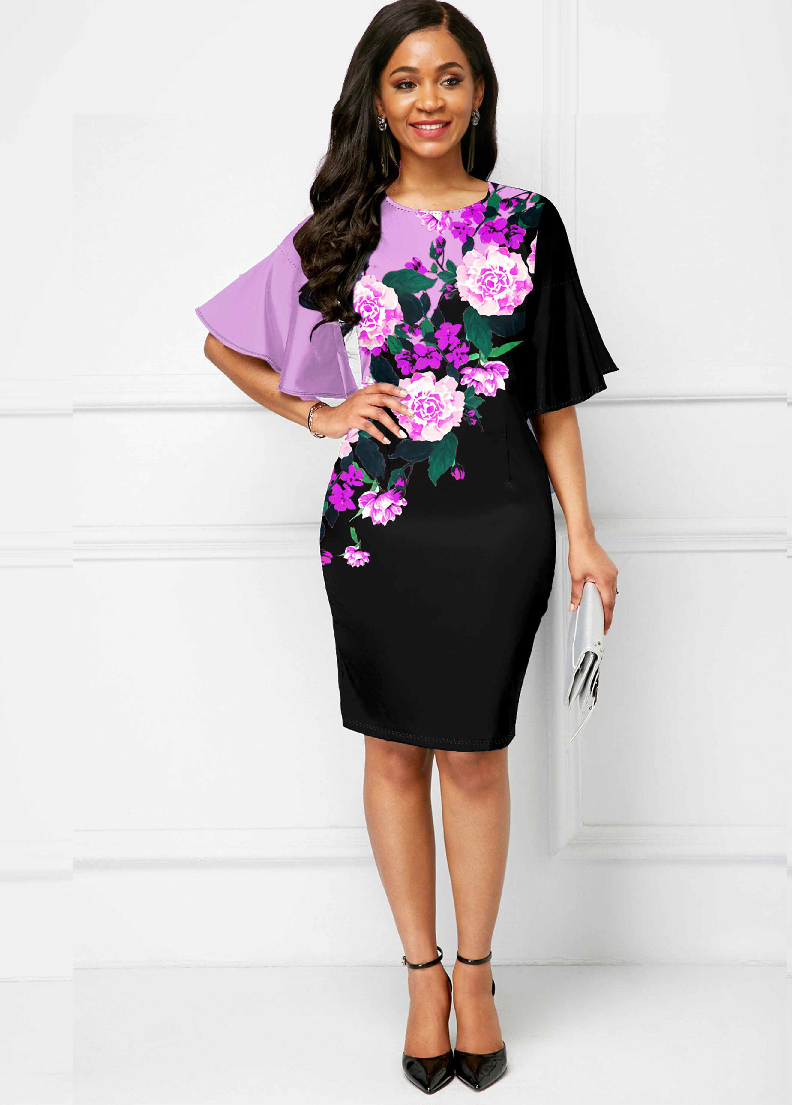 ROTITA Flare Sleeve Round Neck Floral Print Dress