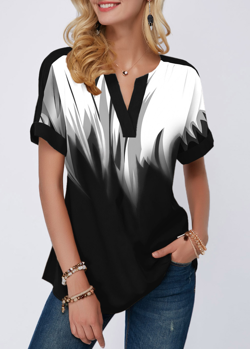 ROTITA Split Neck Gradient Short Sleeve Blouse