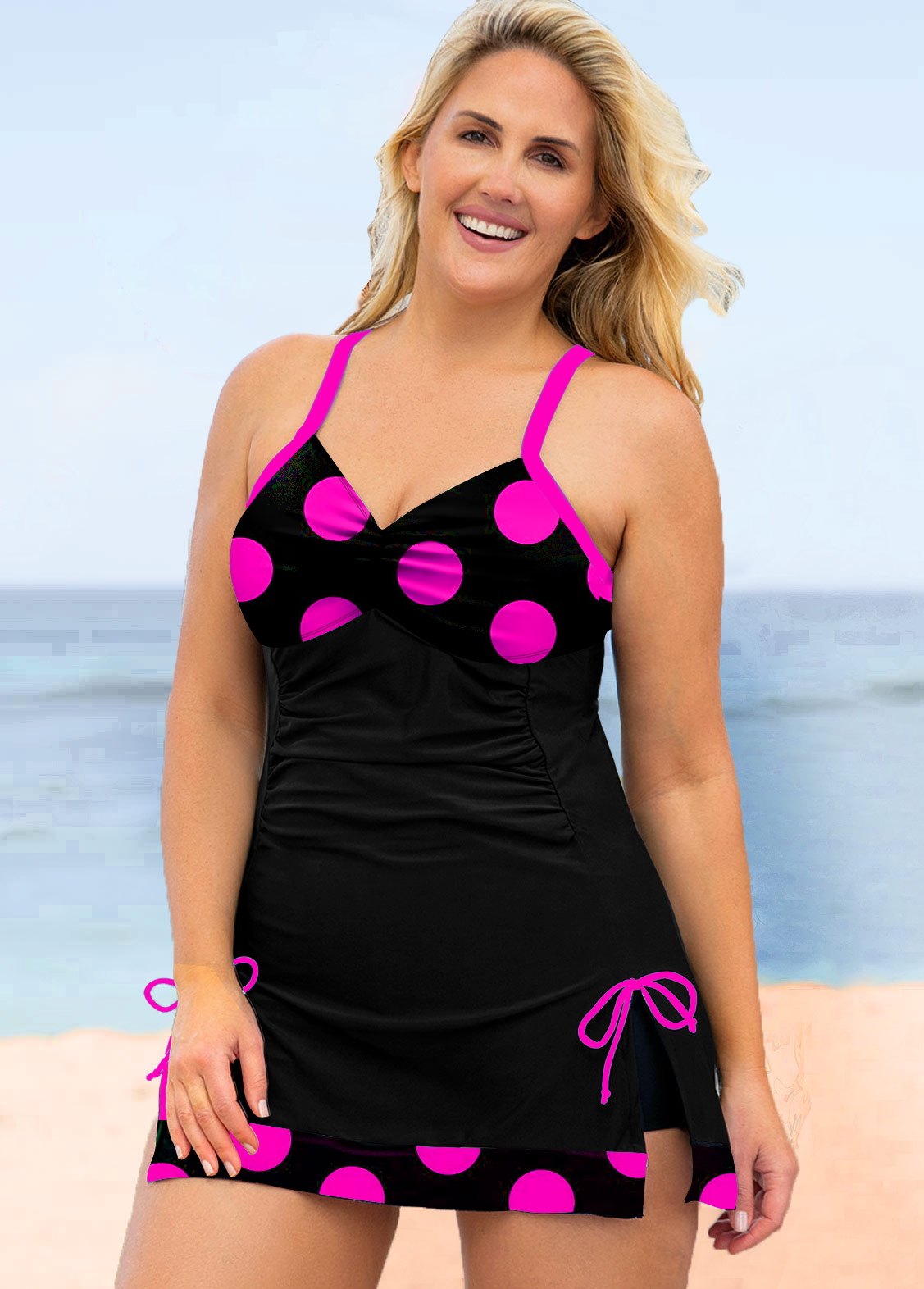 ROTITA Plus Size Polka Dot Bowknot Swimwear Top