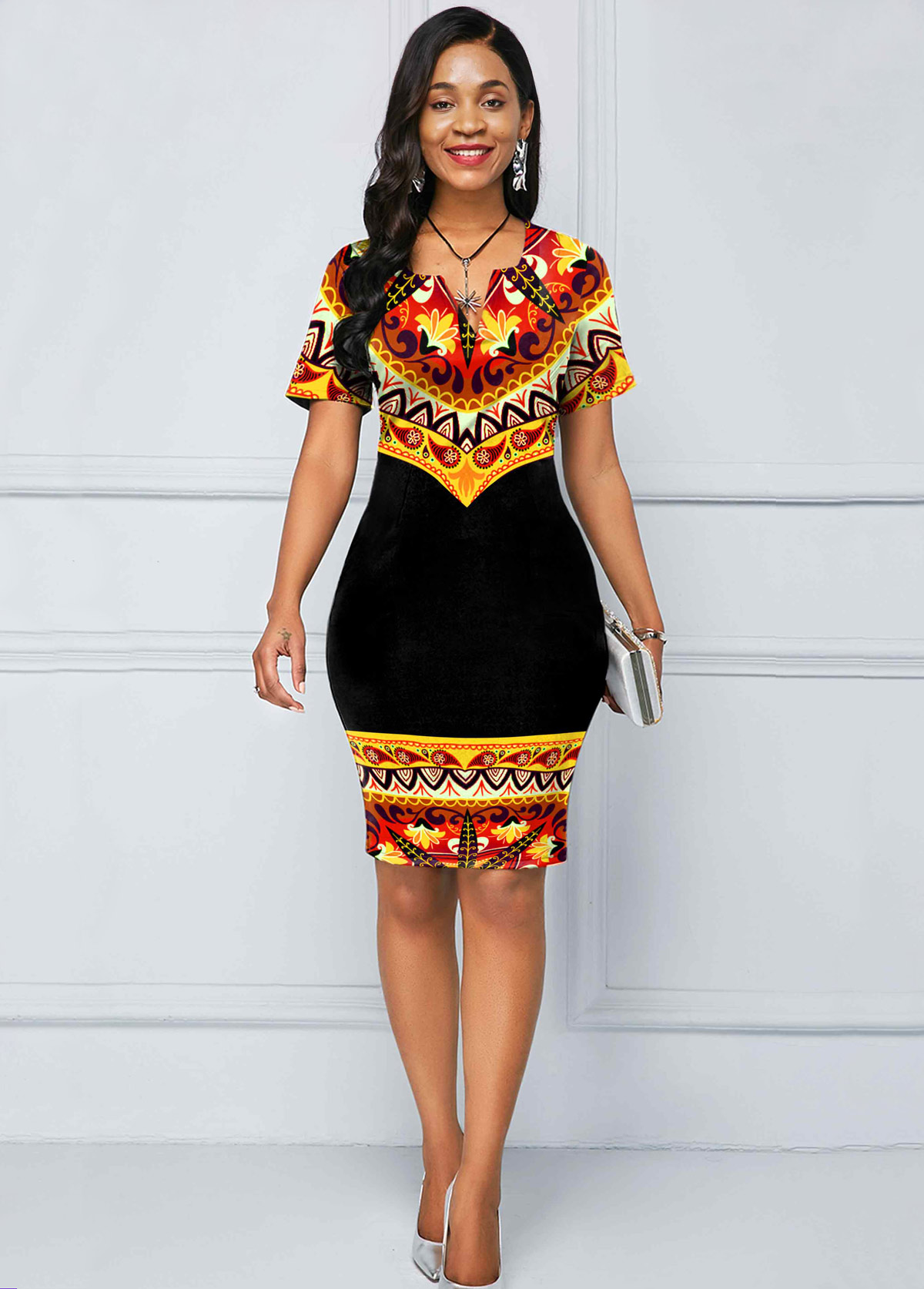 ROTITA Tribal Print Short Sleeve Split Neck Dress