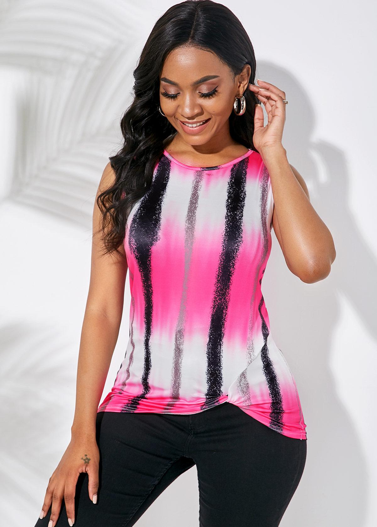 ROTITA Round Neck Tie Dye Print Sleeveless T Shirt