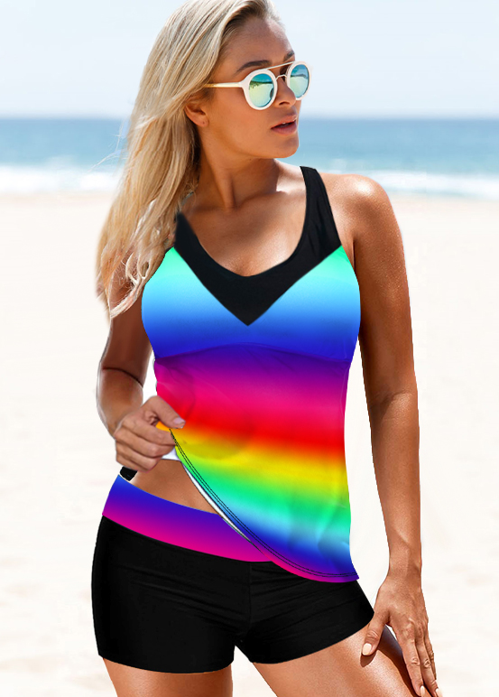 Tie Dye Print Strappy Back Rainbow Color Tankini Set
