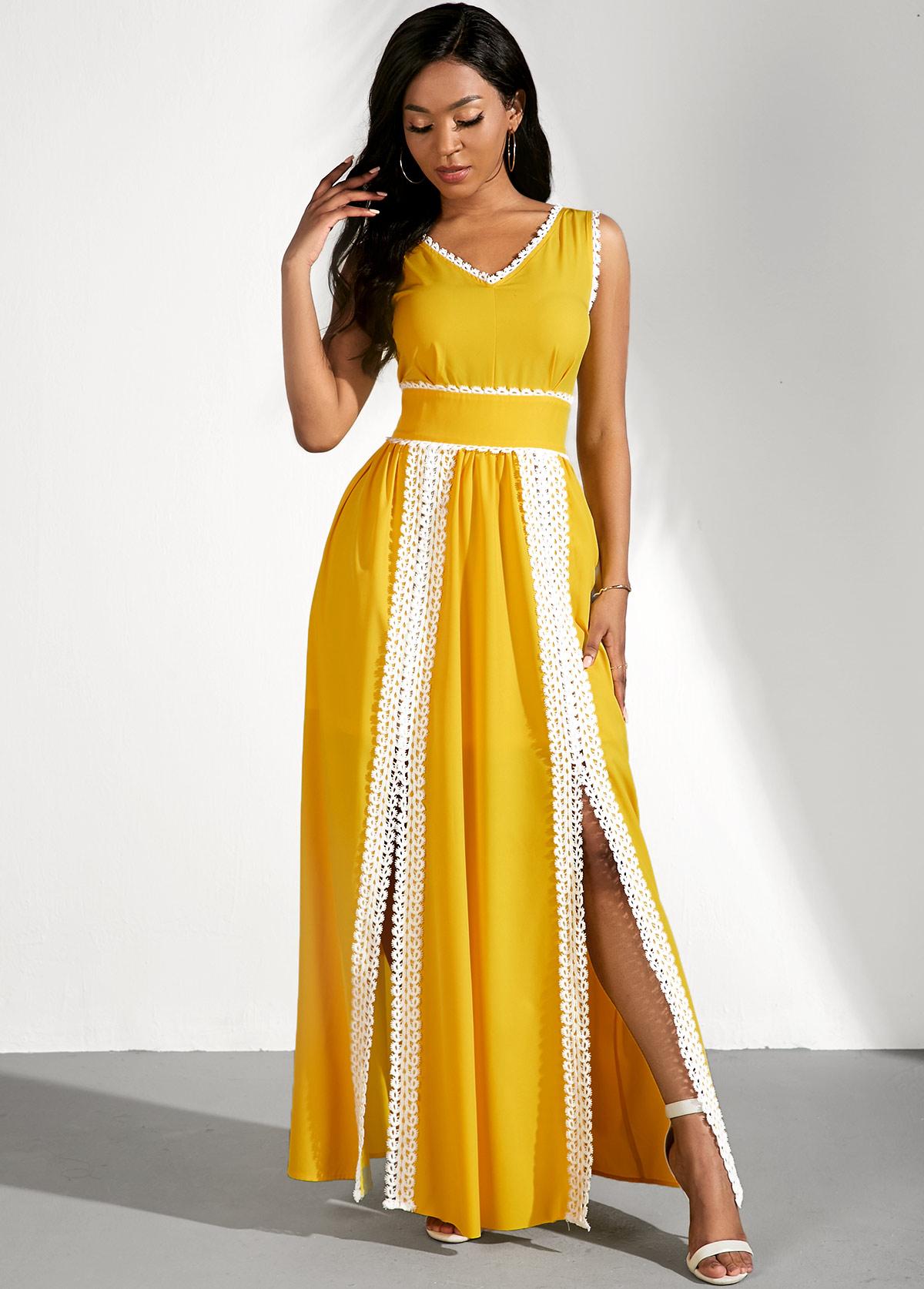 Side Slit Lace Panel Contrast Maxi Dress