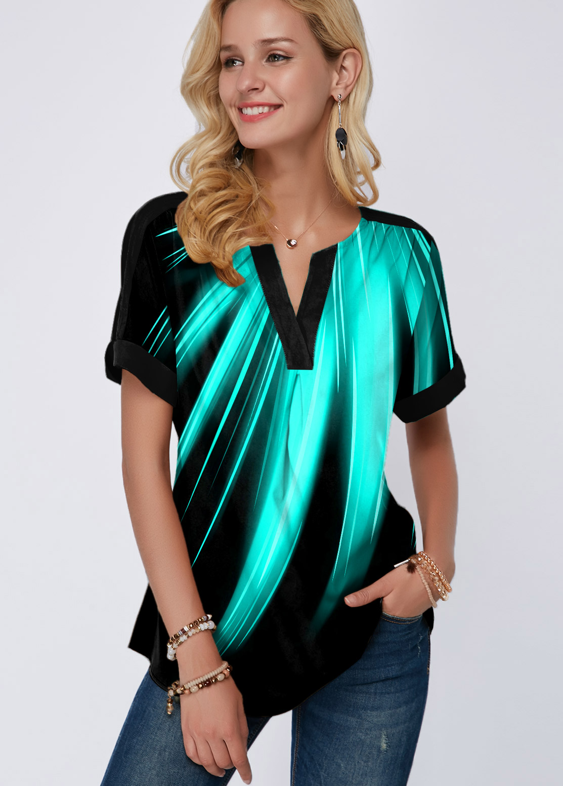 Rainbow Color Split Neck Printed Mint Green Blouse