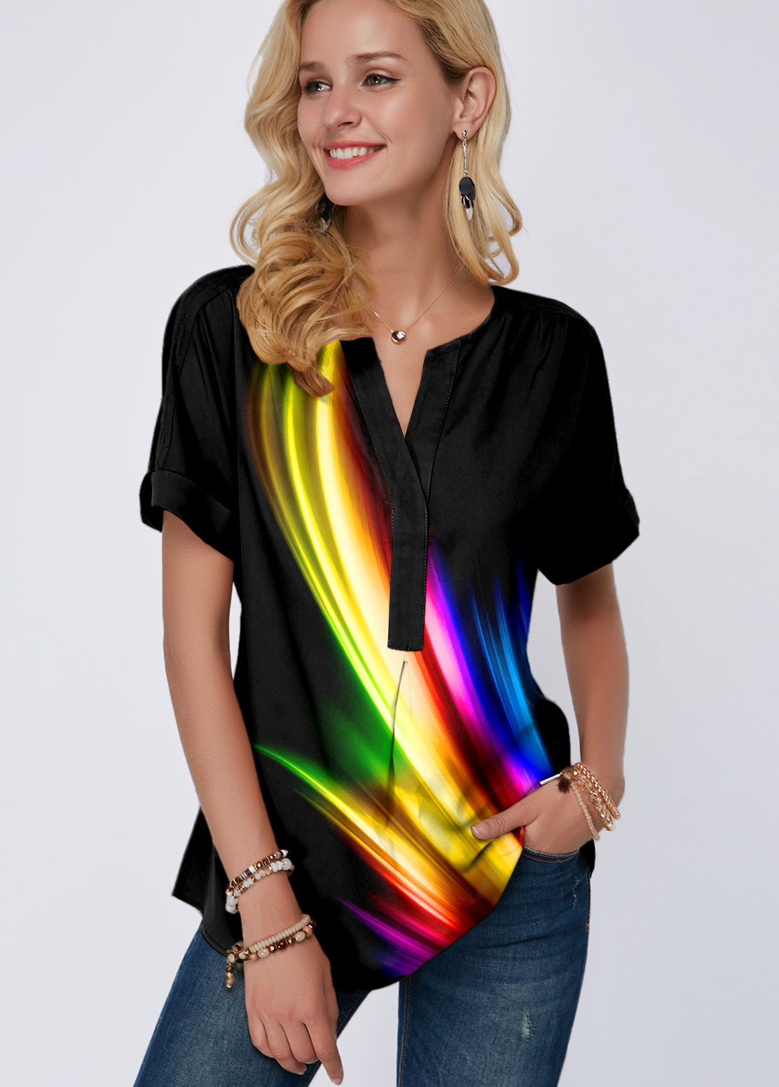 Split Neck Rainbow Color Printed Blouse