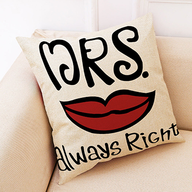 1pc 45 X 45cm Letter Print Red Pillow Case