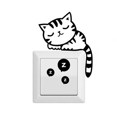 Cat Design Movable 13 X 9cm Switch Sticker