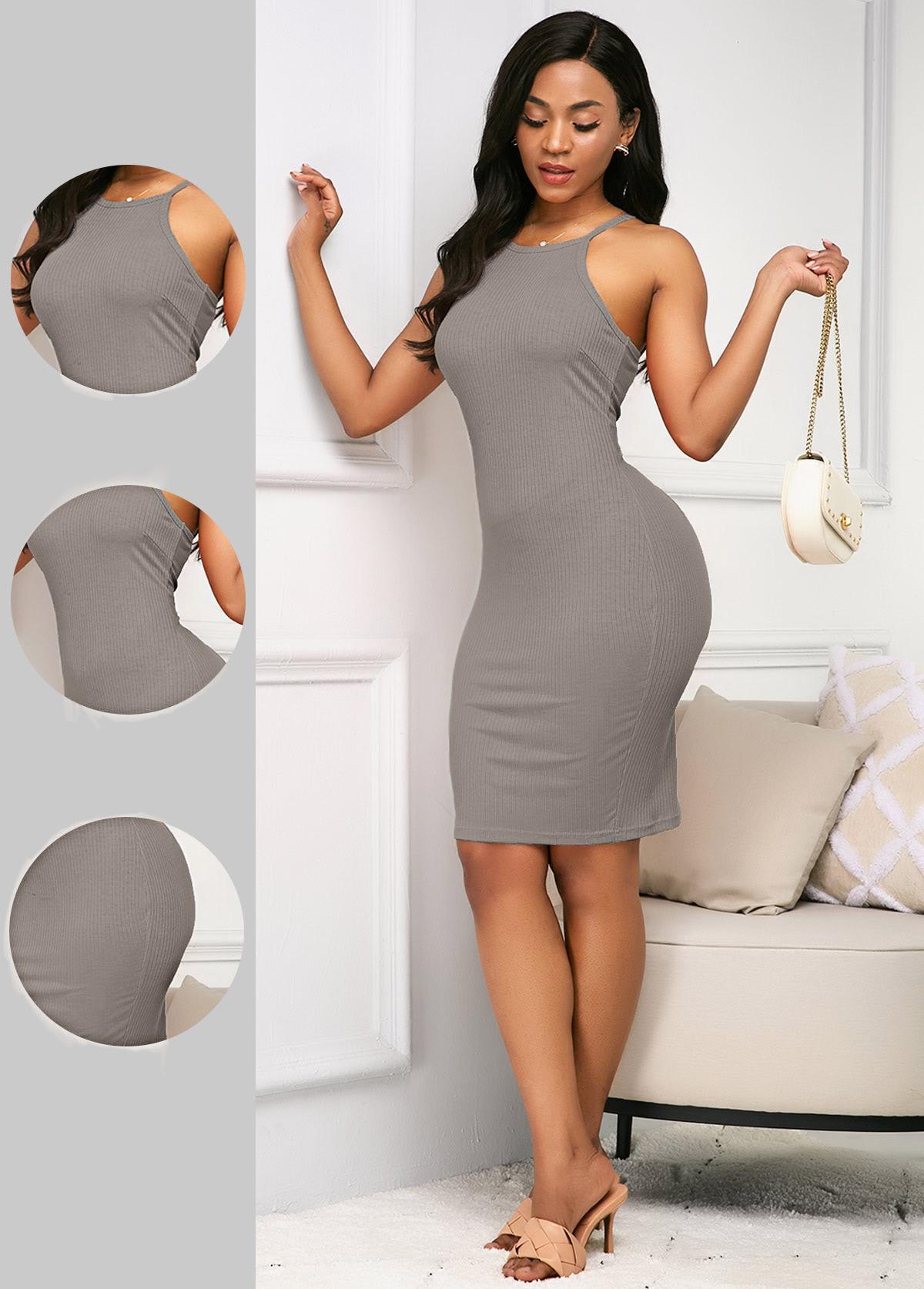 ROTITA Spaghetti Strap Grey Sleeveless Sheath Dress