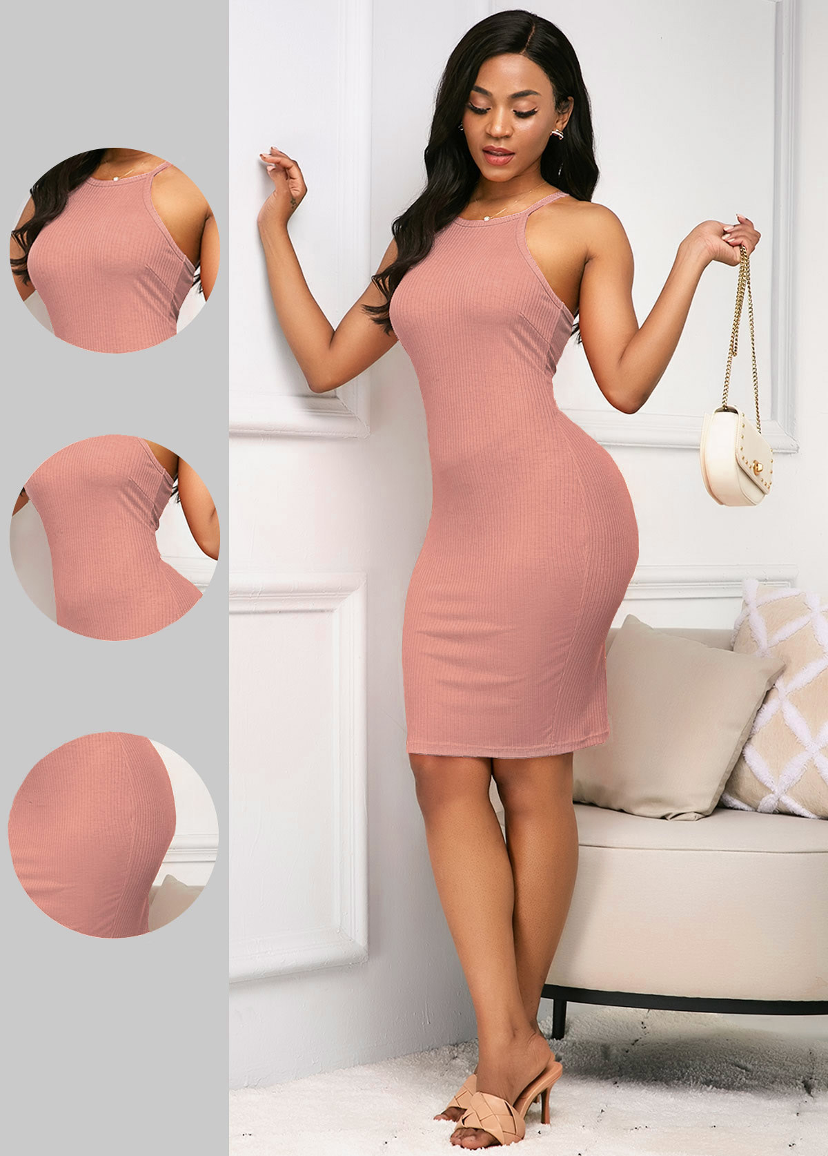 ROTITA Pink Sleeveless Spaghetti Strap Sheath Dress